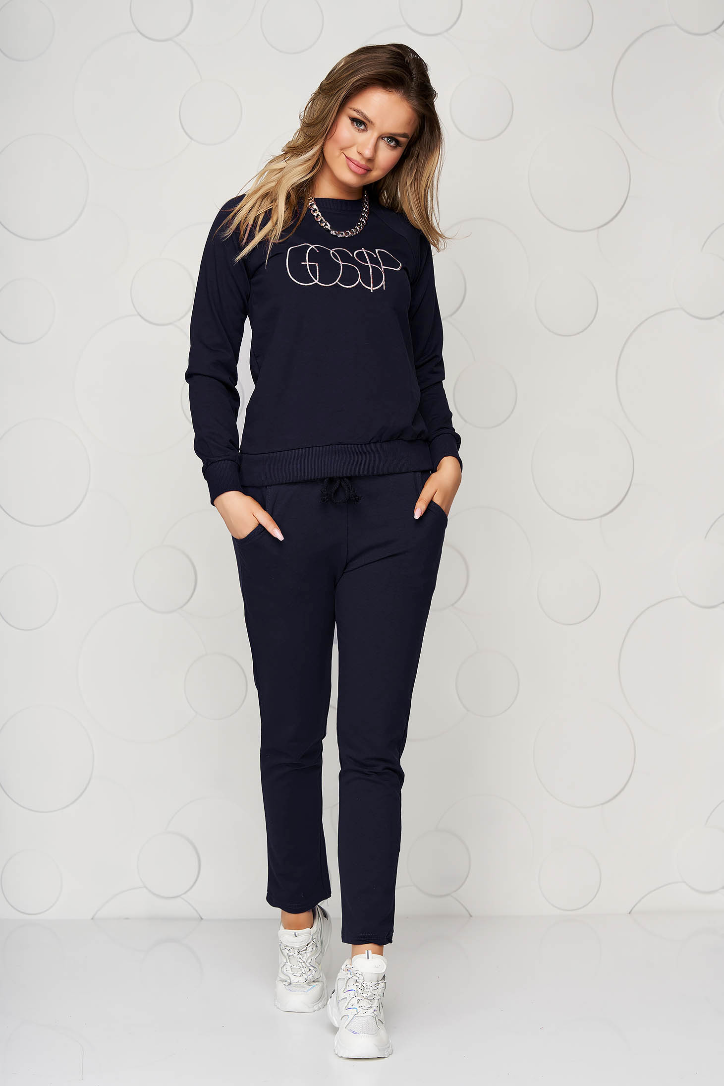 Darkblue sport 2 pieces loose fit with pockets women`s trousers