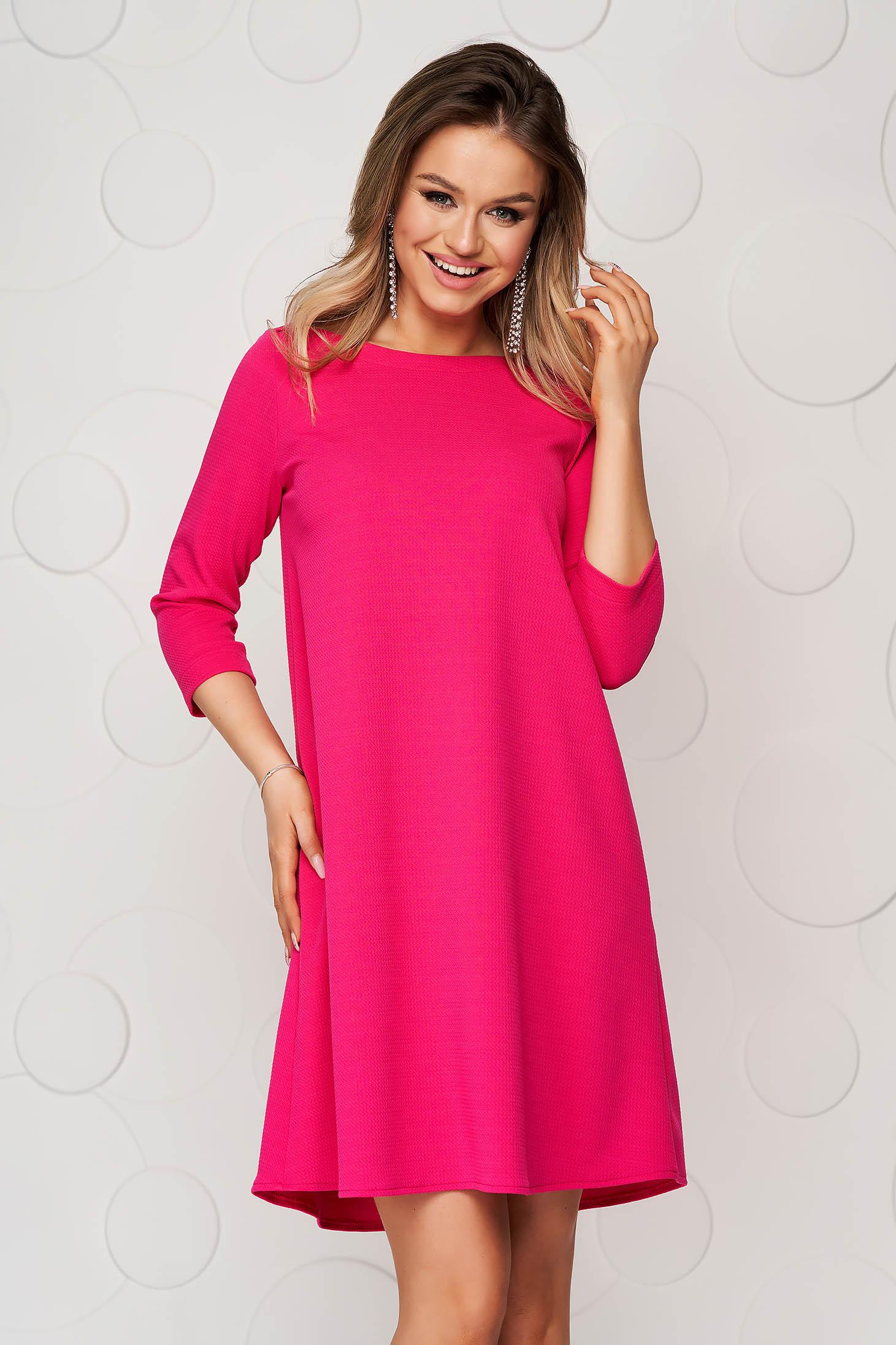 Rochie StarShinerS roz scurta de zi din material elastic cu croi larg