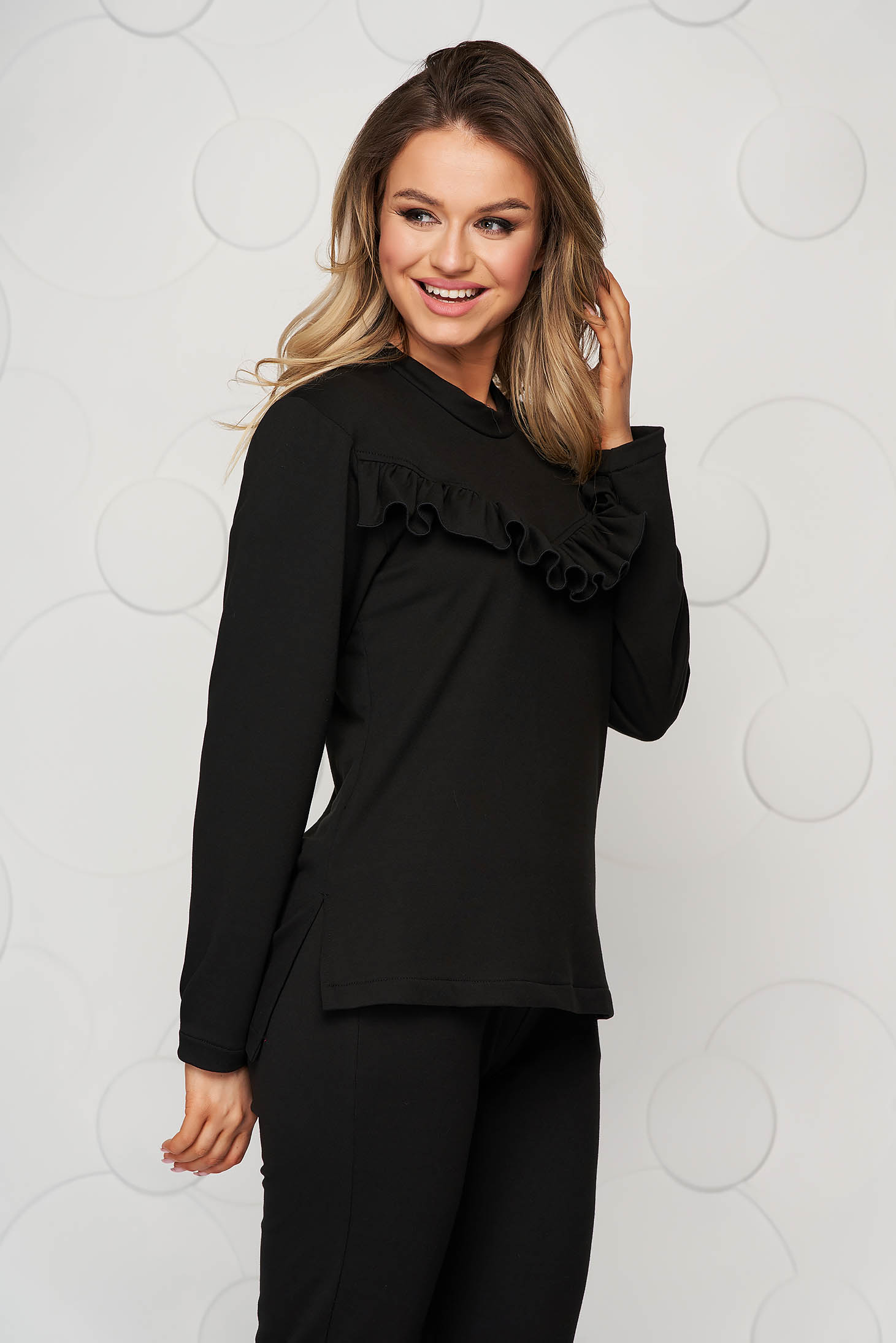 Sporty loose fit StarShinerS black women`s blouse with lace details