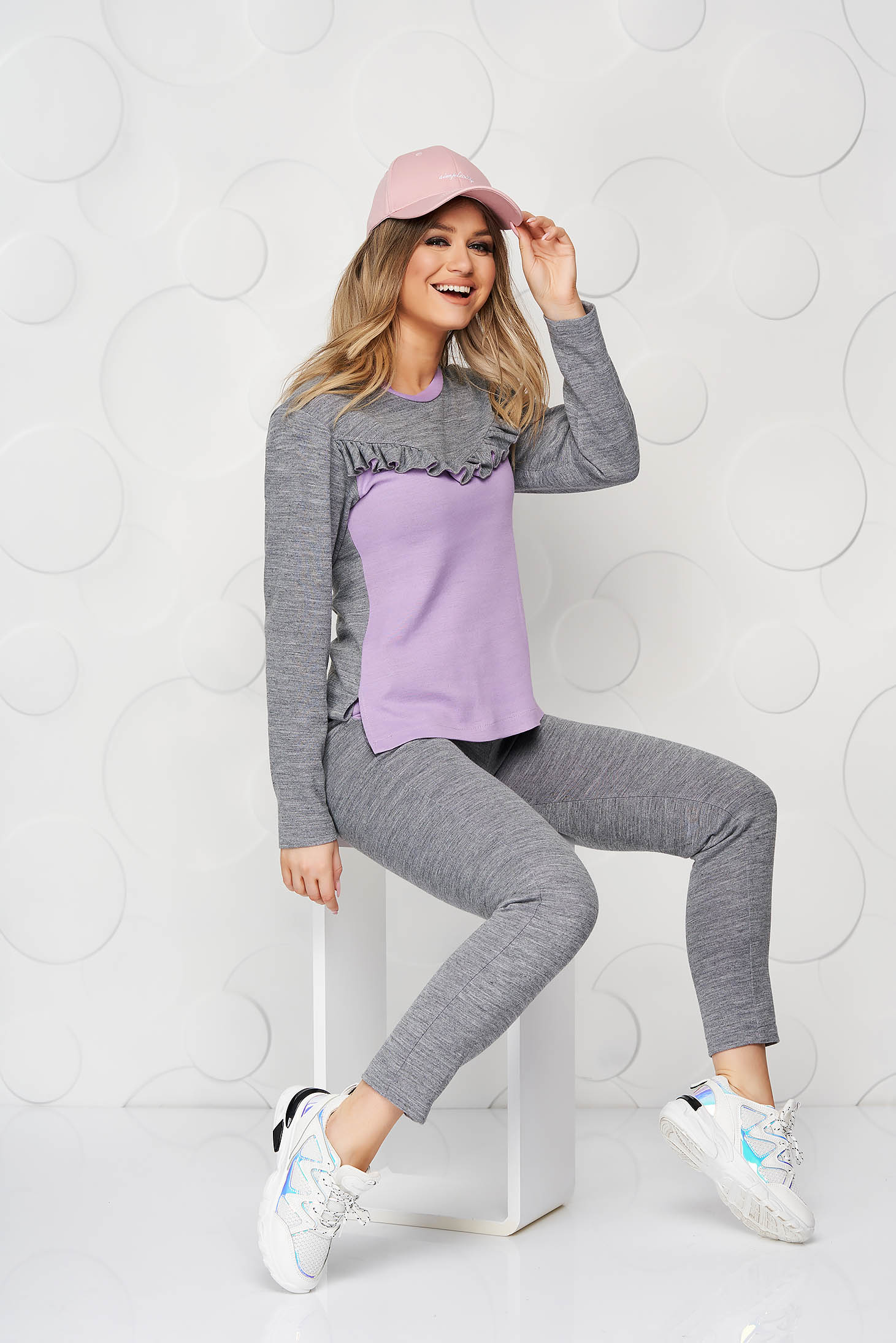 StarShinerS grey lady set with ruffle details nonelastic cotton