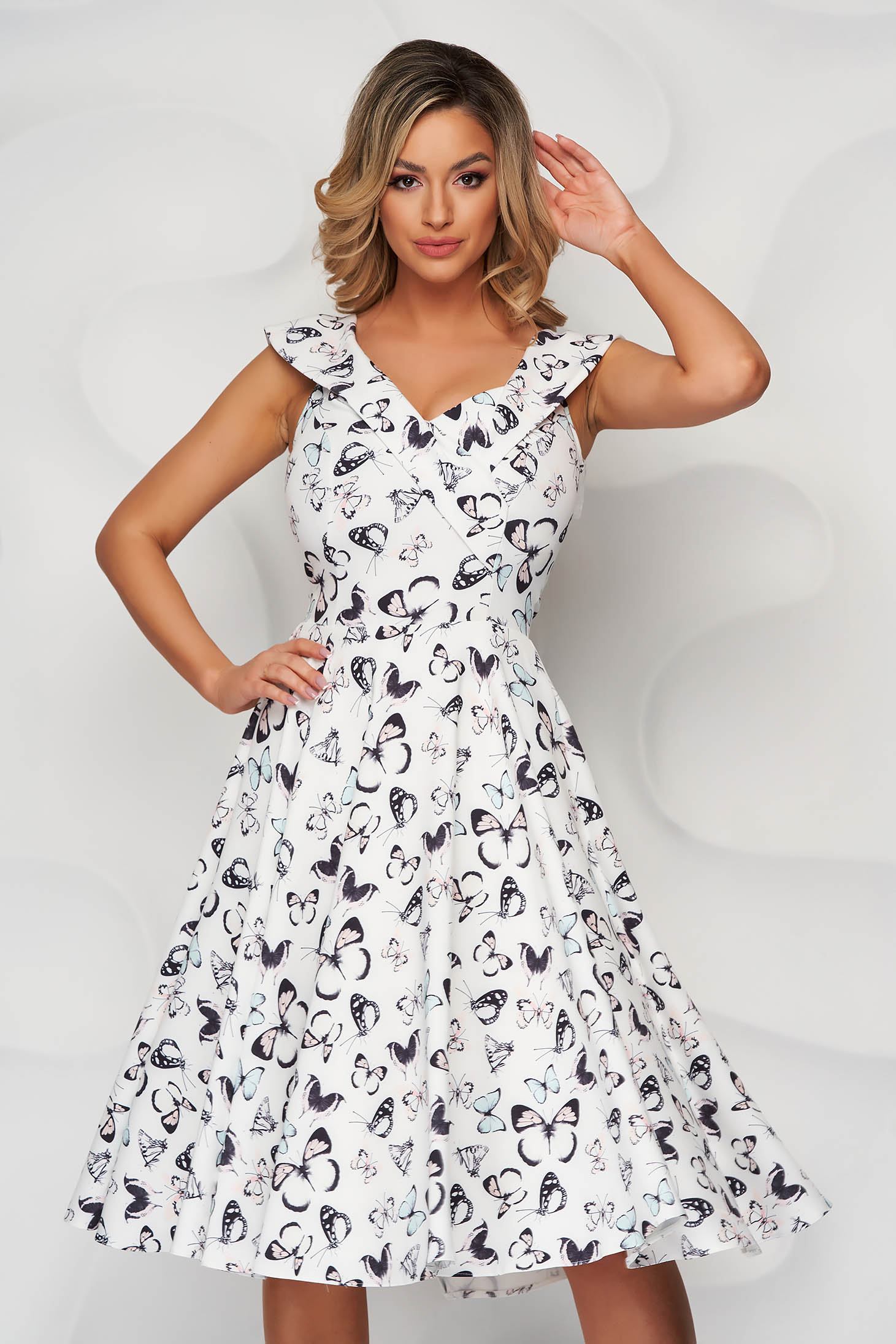 StarShinerS ivory dress elegant cloche cloth with floral print with pockets padded bust