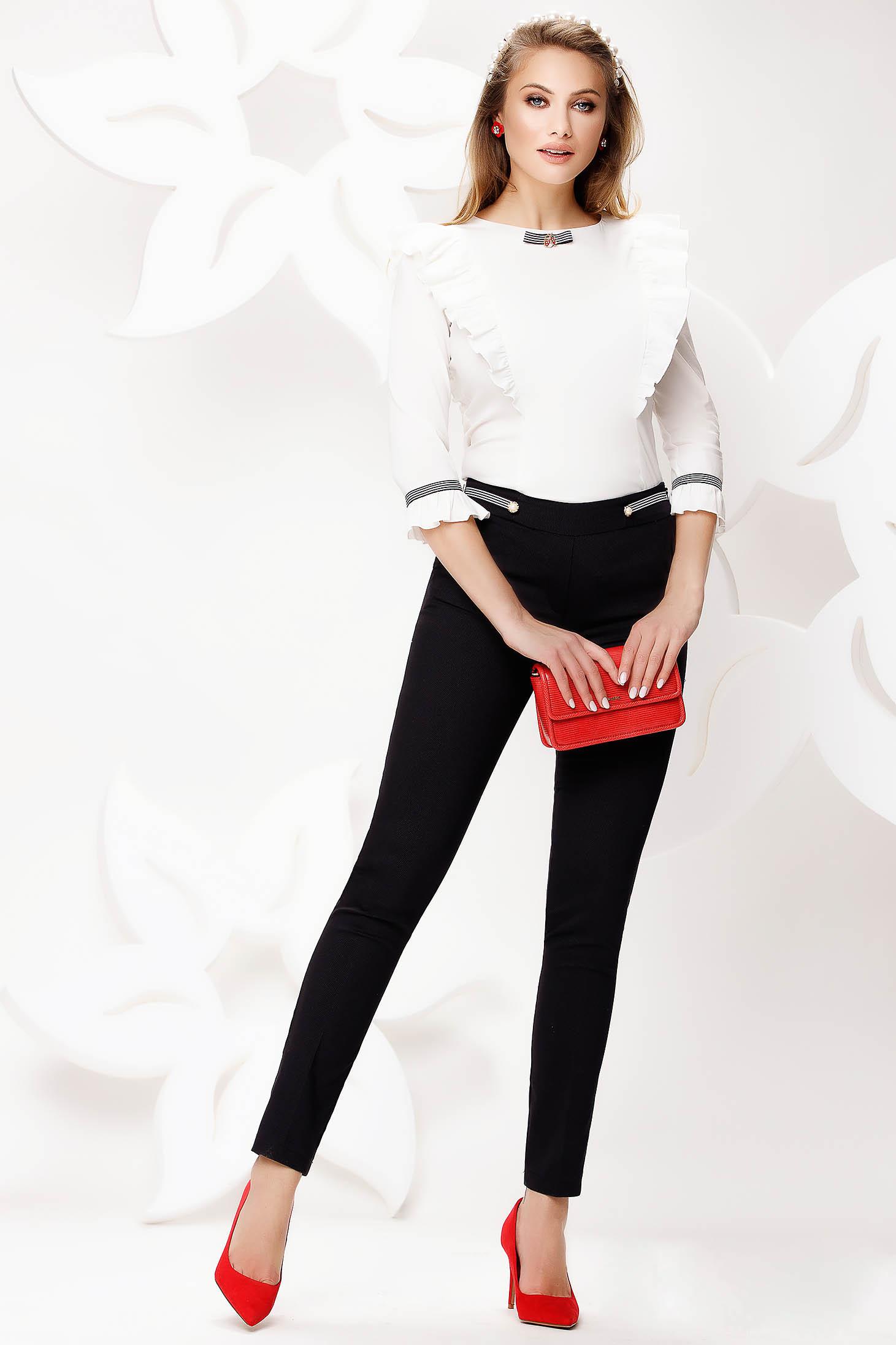 Pantaloni Fofy negri office conici lungi din material elastic cu buzunare