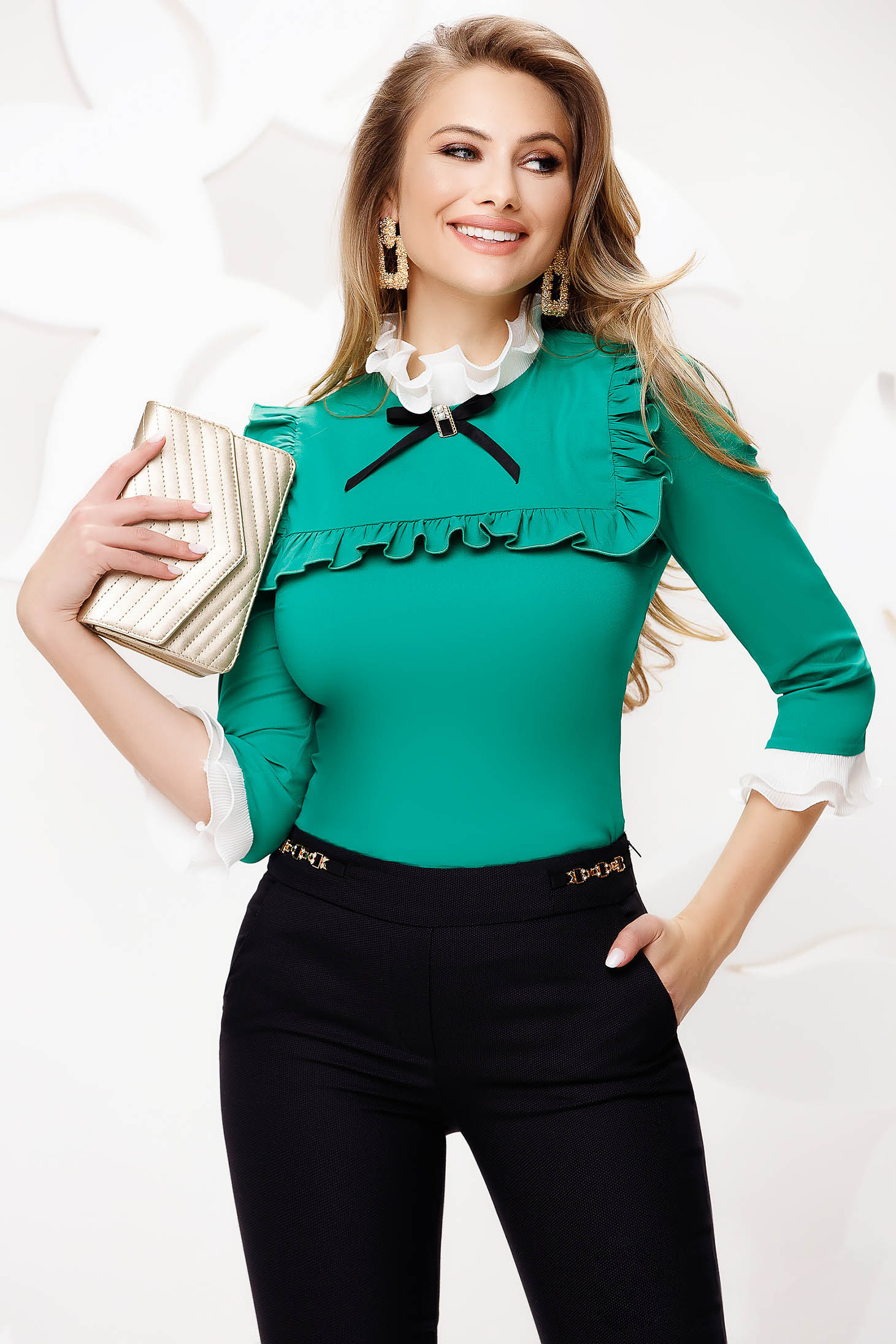 Green tented slightly elastic fabric office women`s shirt with bow accessories