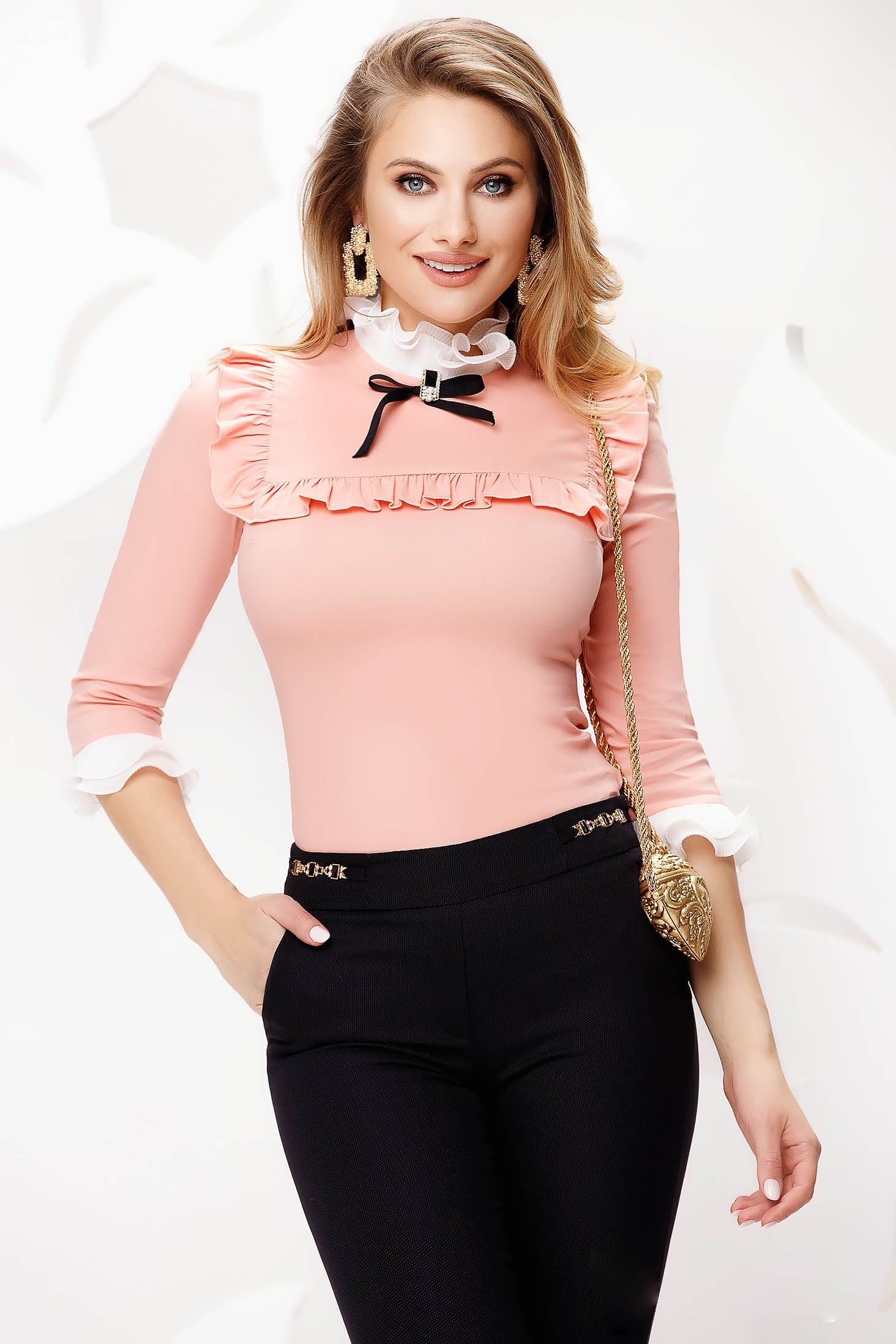 Peach tented slightly elastic fabric office women`s shirt with bow accessories