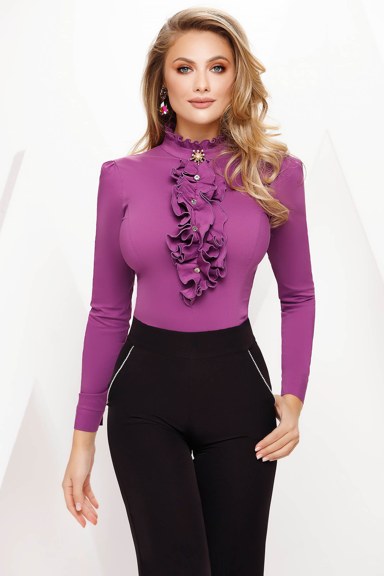 Women`s shirt purple tented office slightly elastic fabric accessorized with breastpin