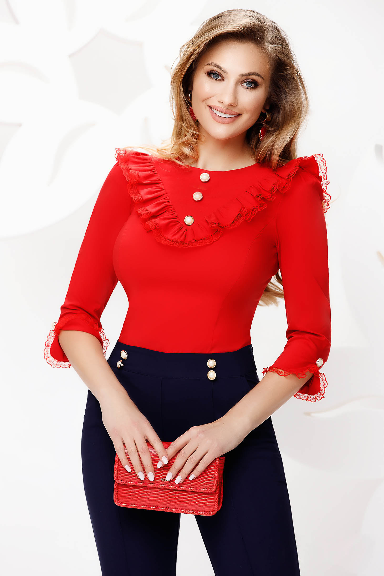 Women`s shirt office red tented ruffled collar with lace details