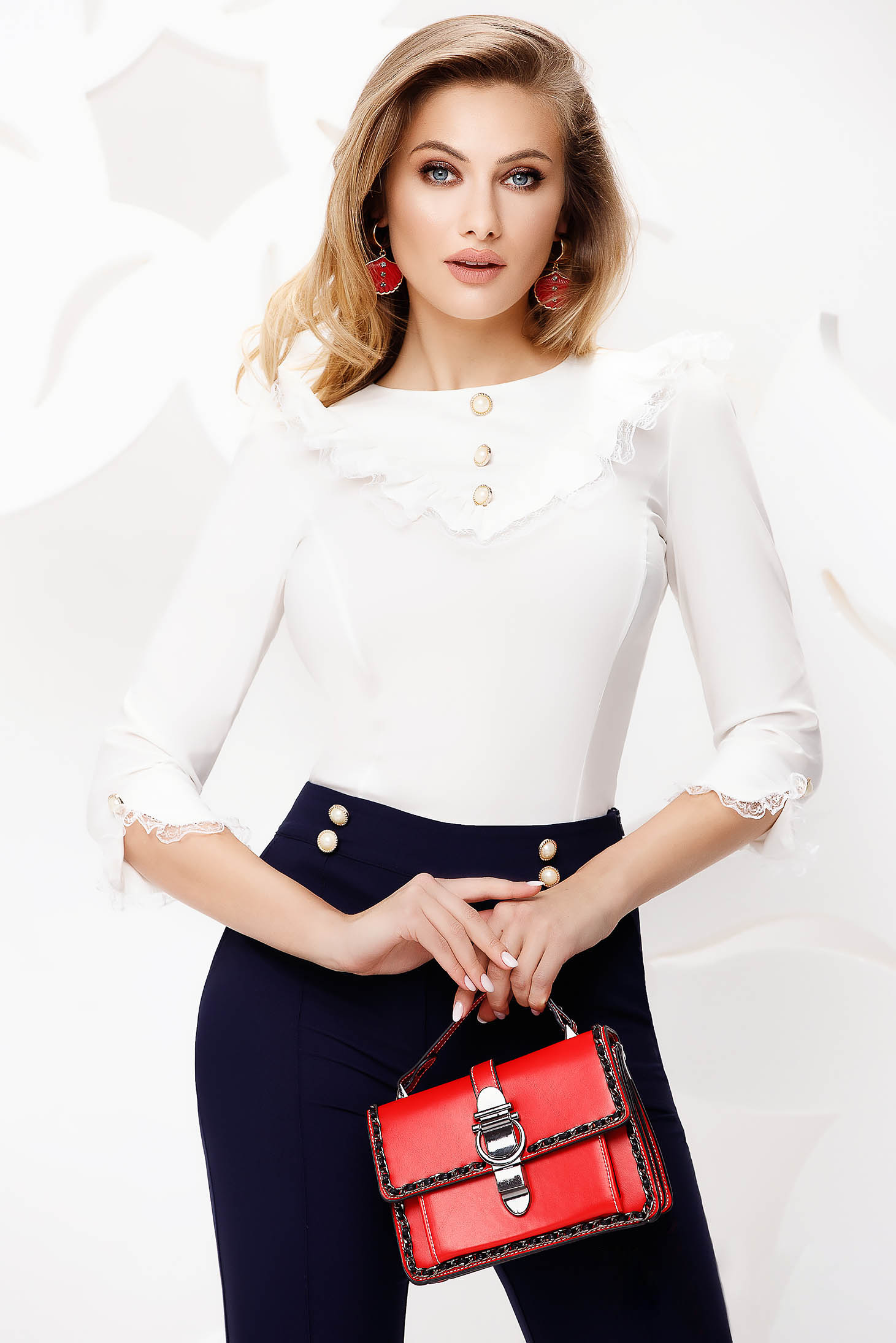 Women`s shirt office white tented ruffled collar with lace details