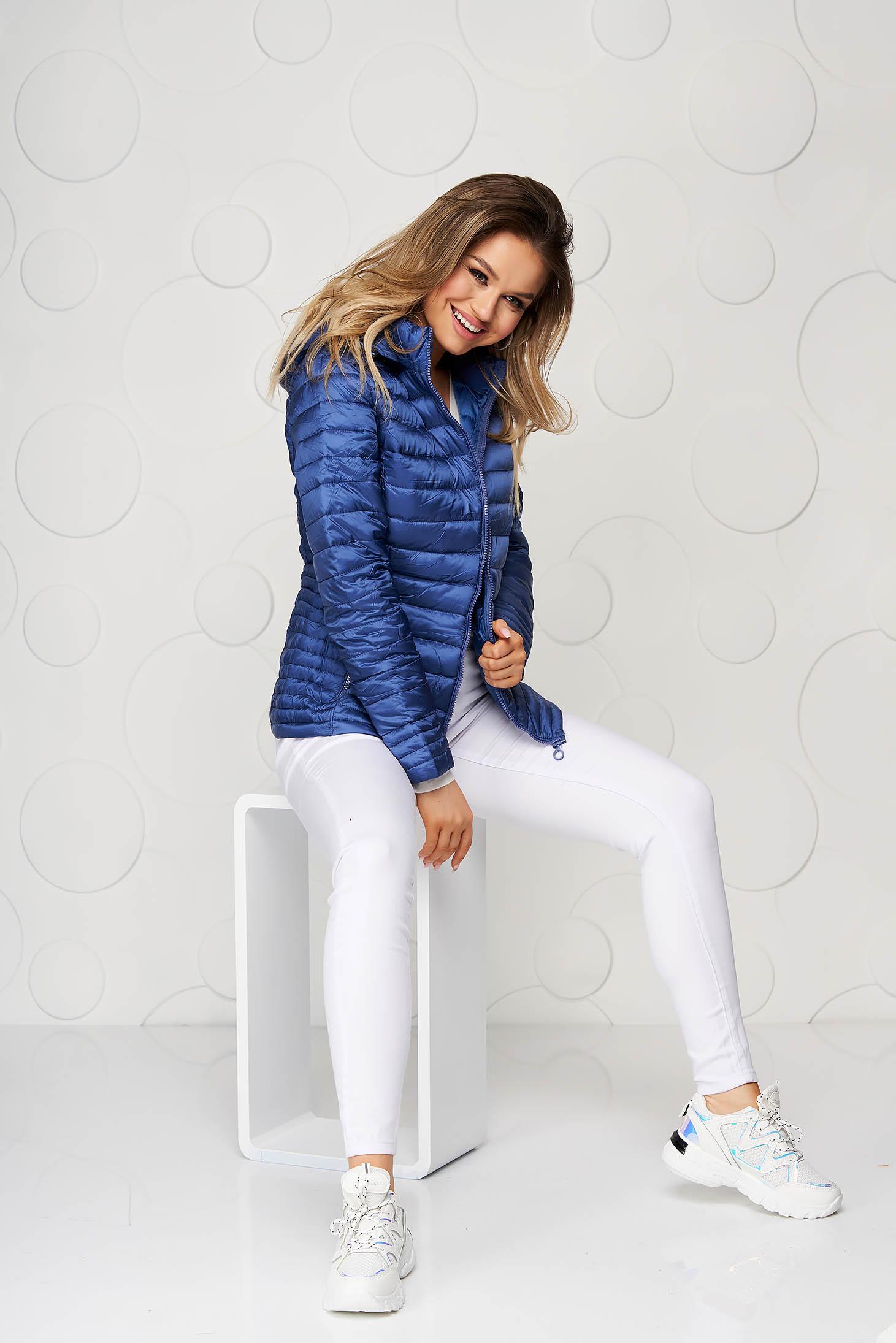 Blue casual tented jacket detachable hood short cut