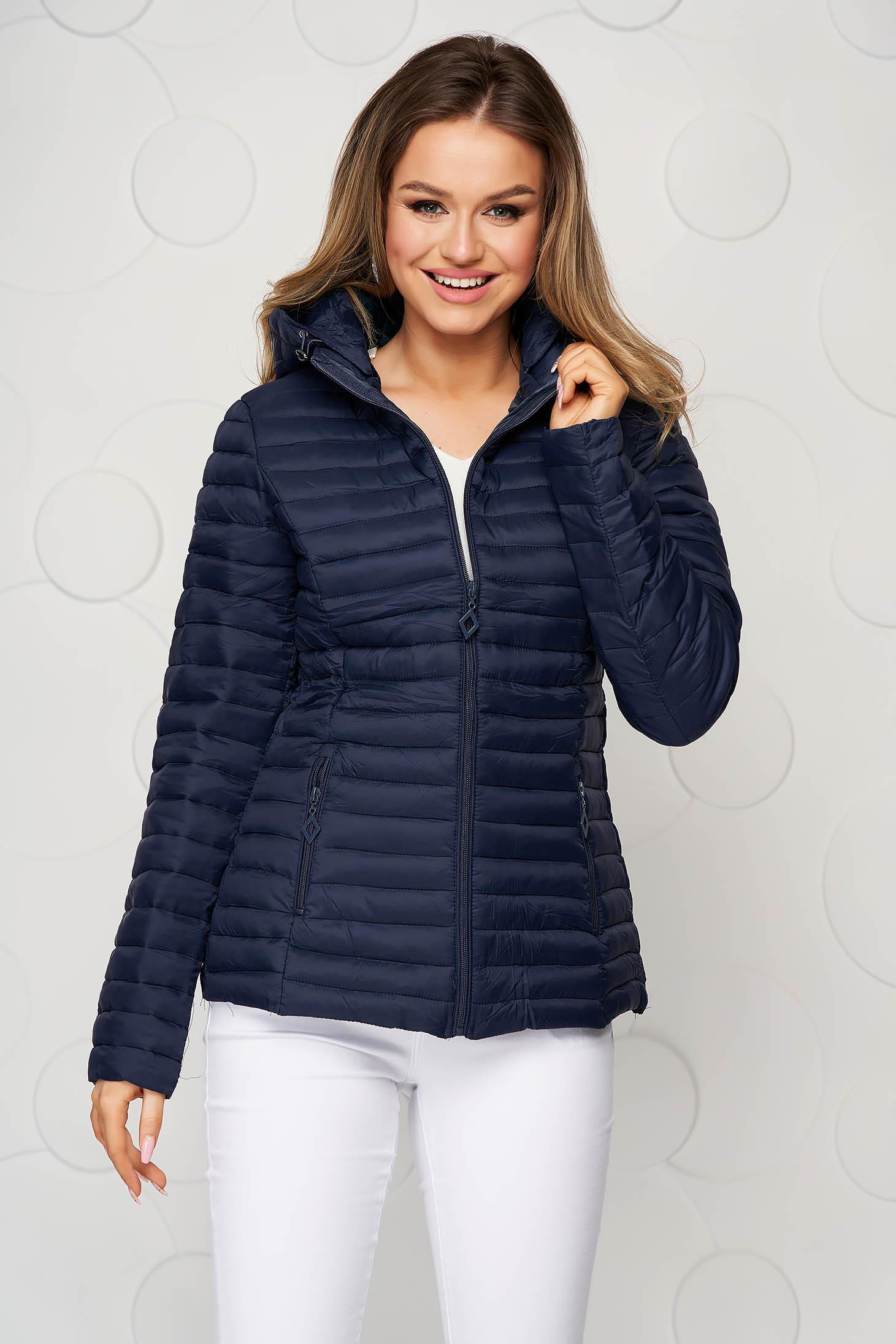 Tented darkblue detachable hood jacket