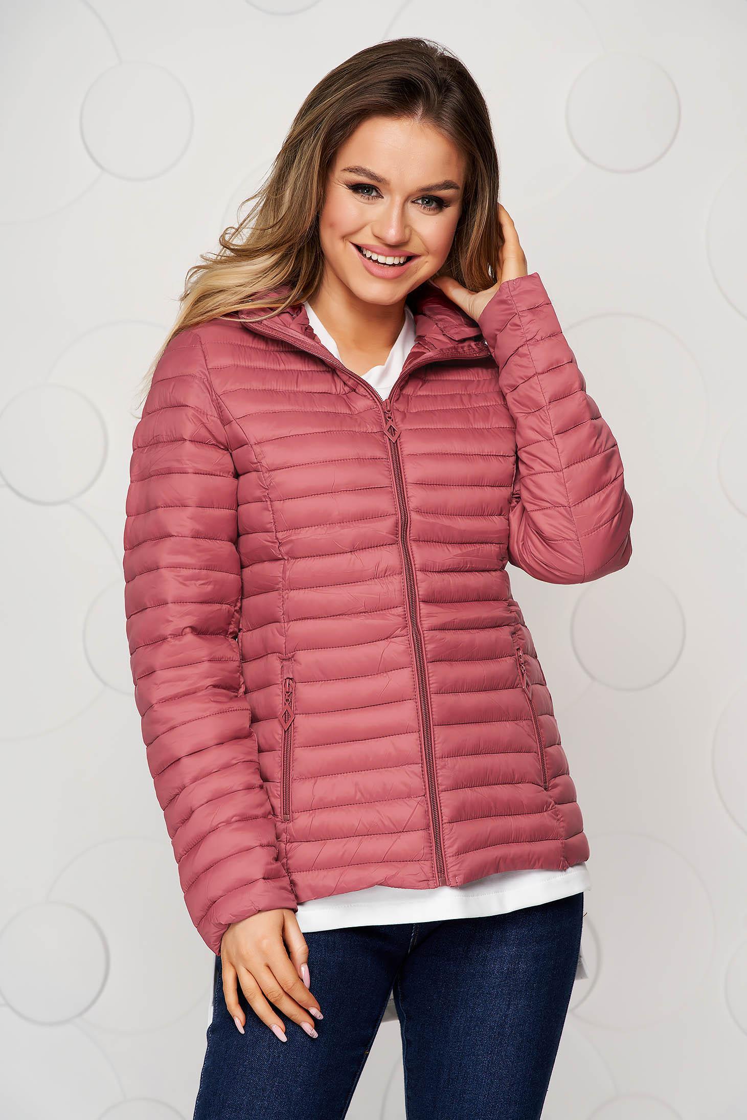 Tented pink detachable hood jacket
