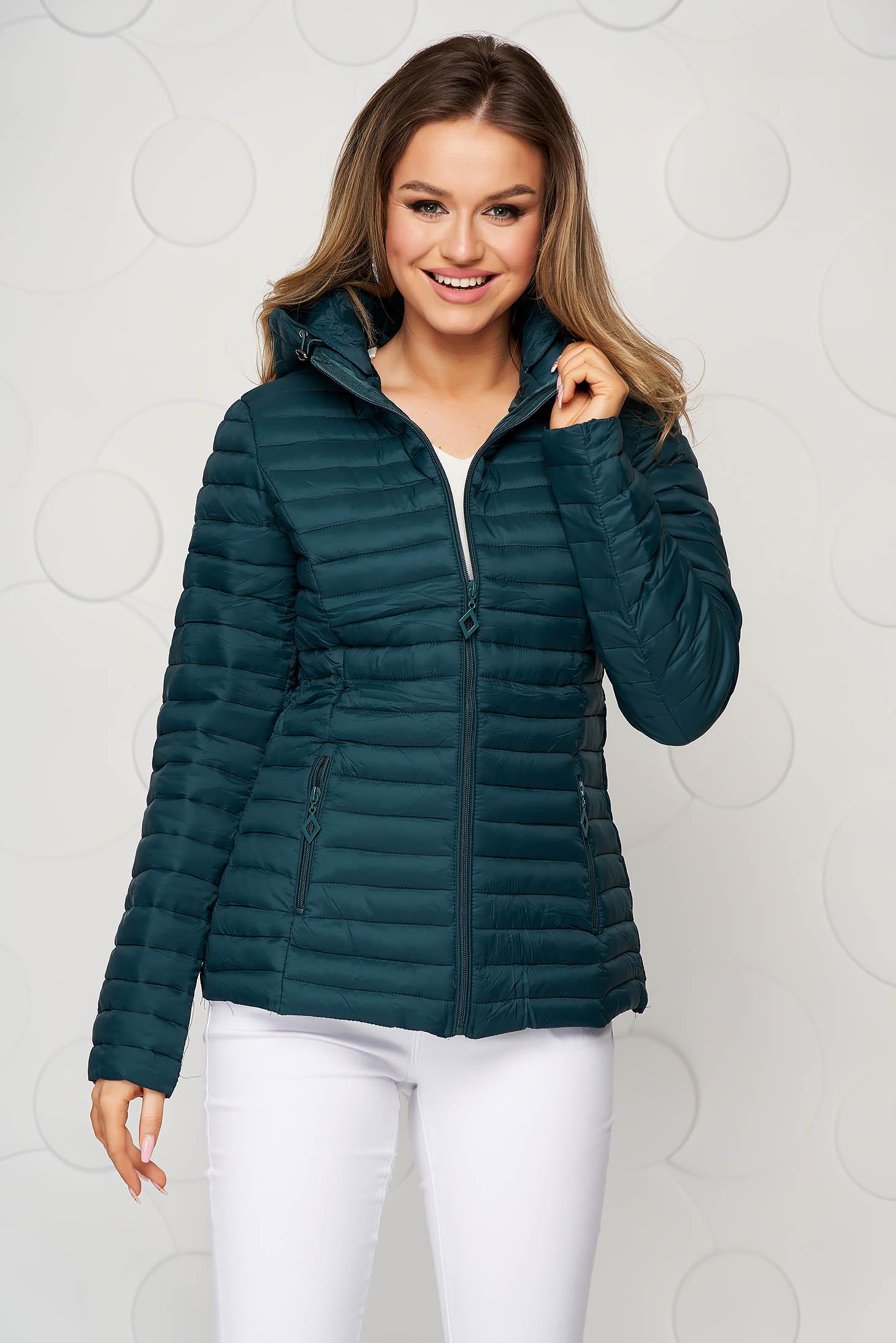 Tented green detachable hood jacket