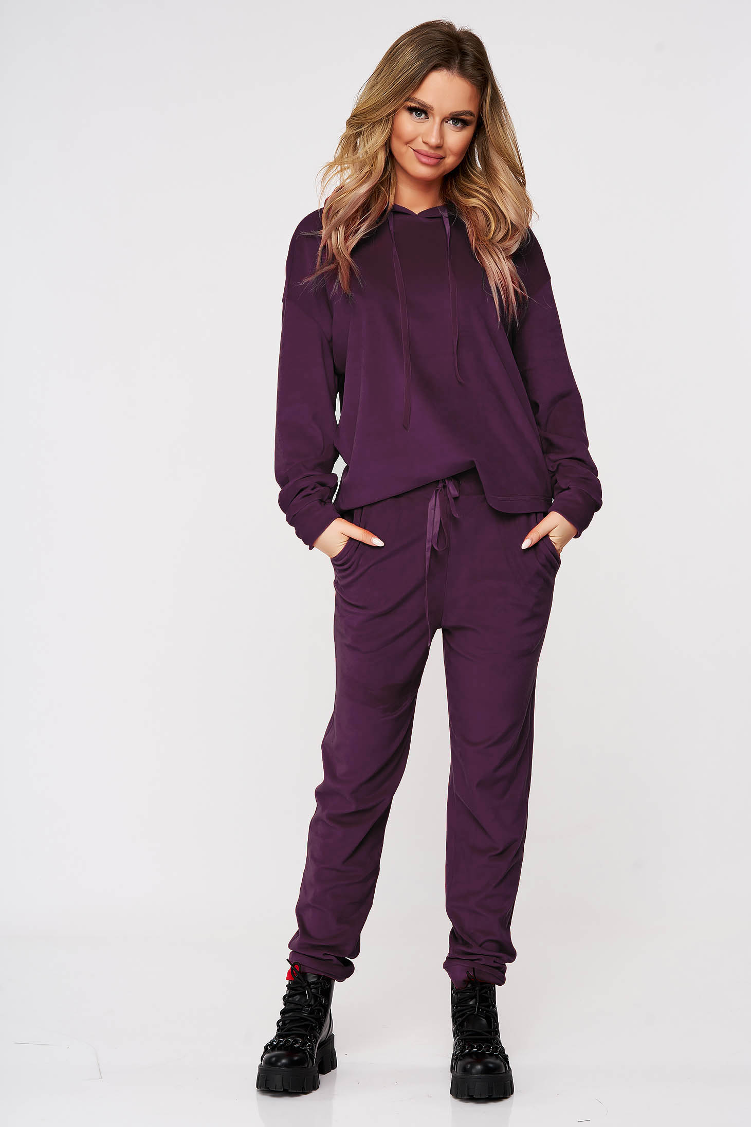 Lightpurple casual sport 2 pieces 2 pieces loose fit with undetachable hood