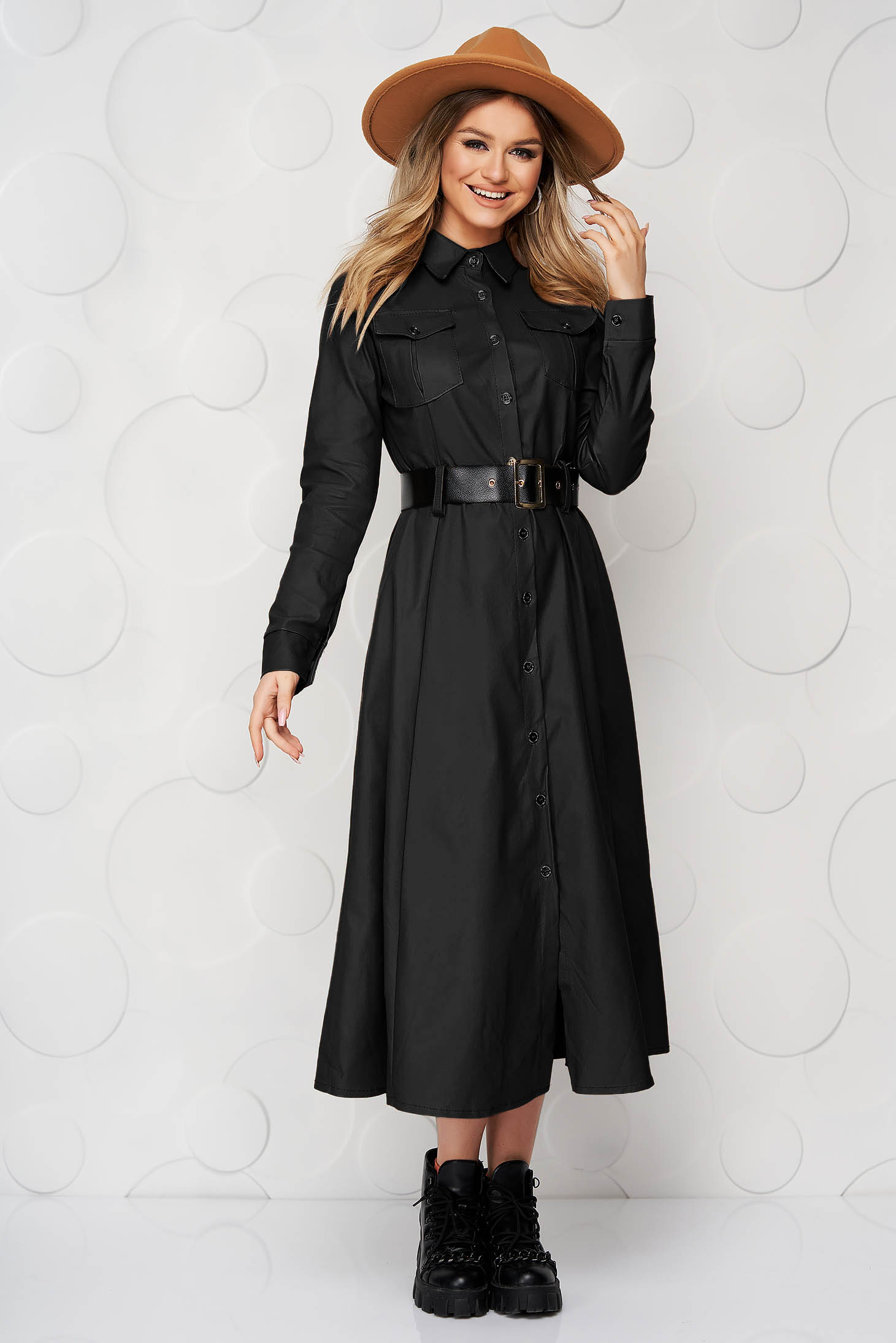 Black dress from ecological leather cloche midi
