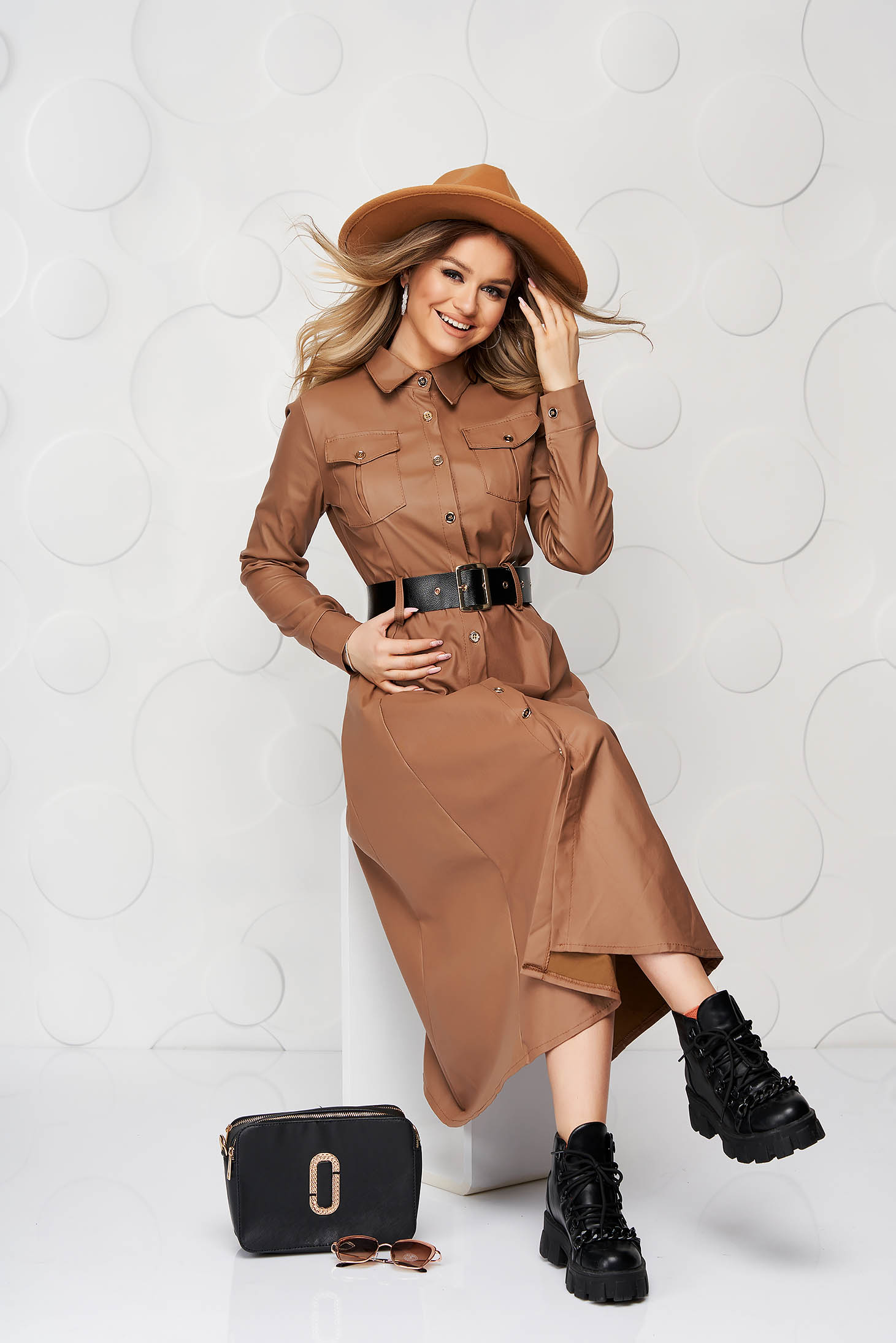 Brown dress from ecological leather cloche midi