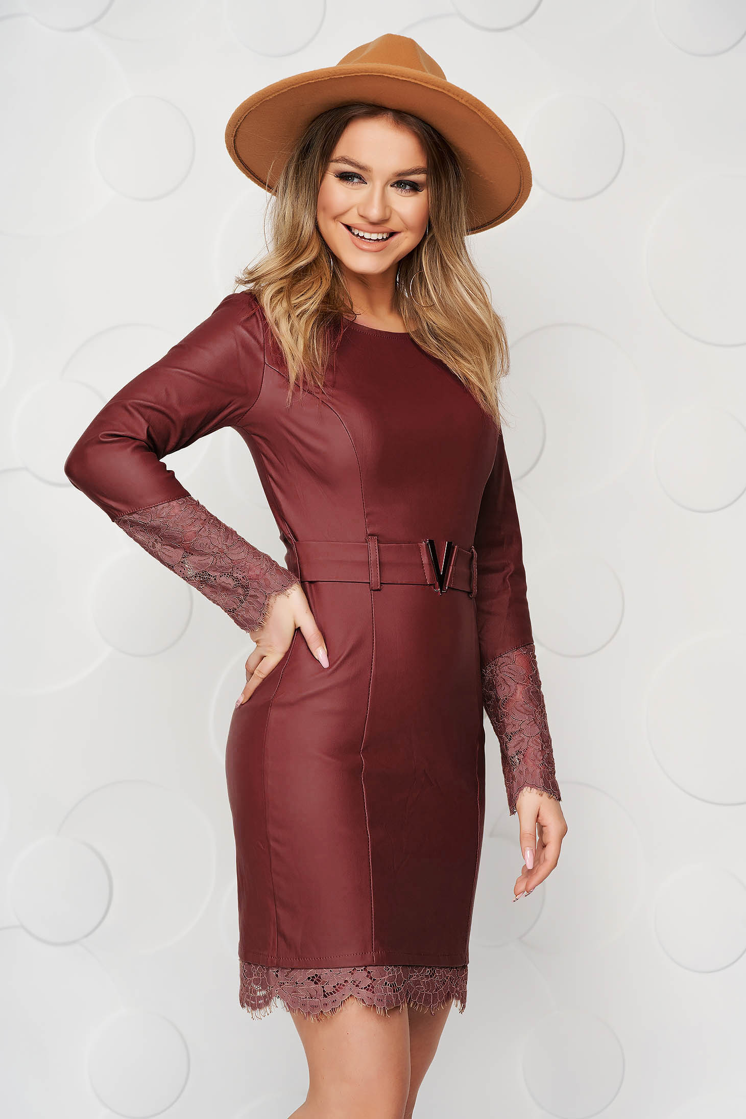 Burgundy dress from ecological leather pencil with lace details