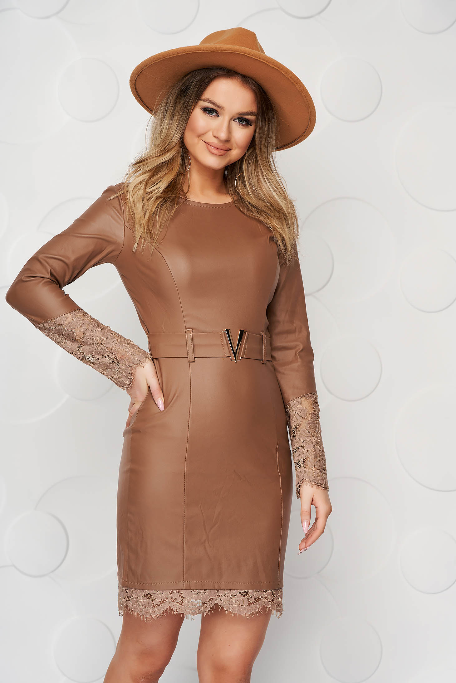 Brown dress from ecological leather pencil with lace details