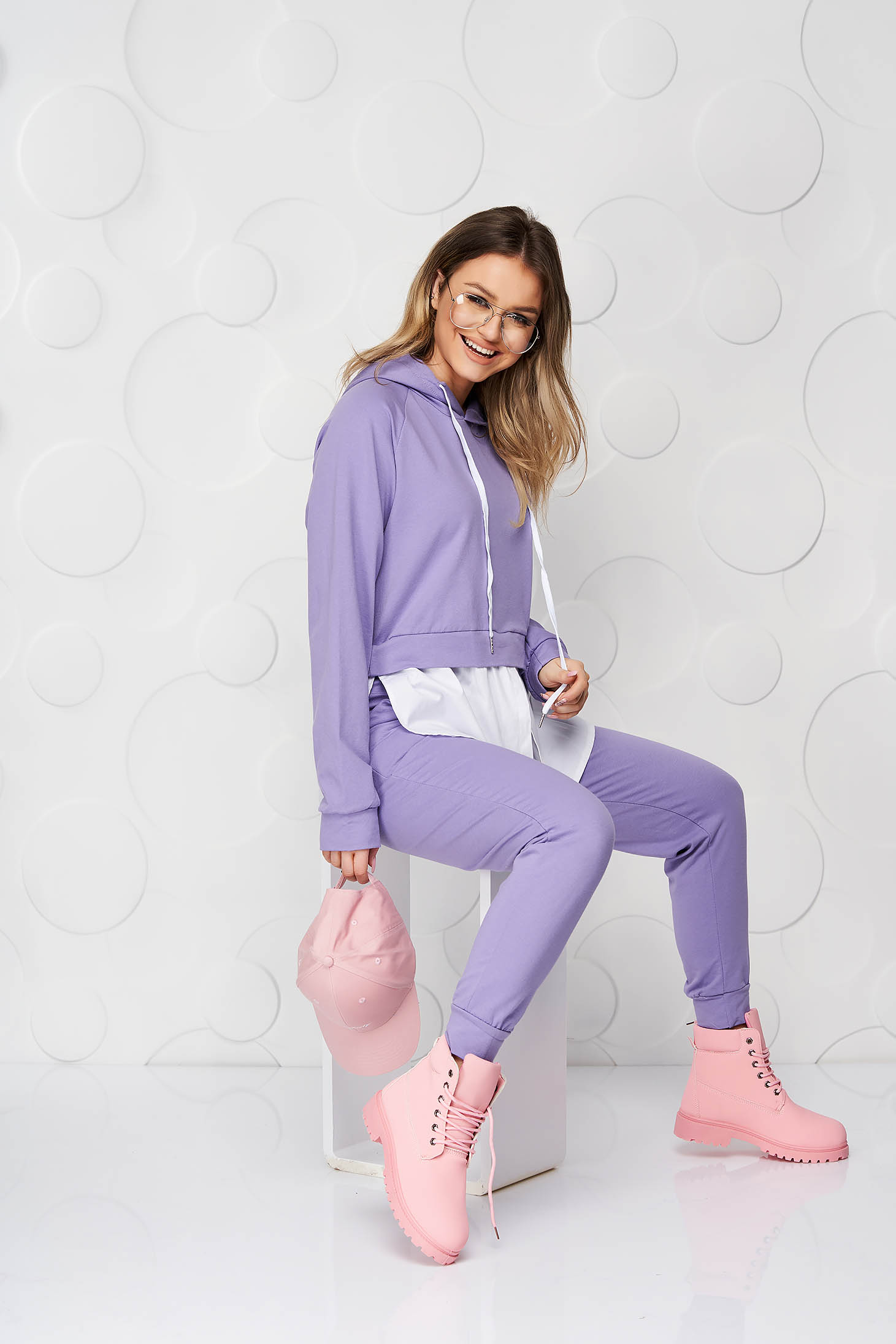 Purple sport 2 pieces cotton loose fit