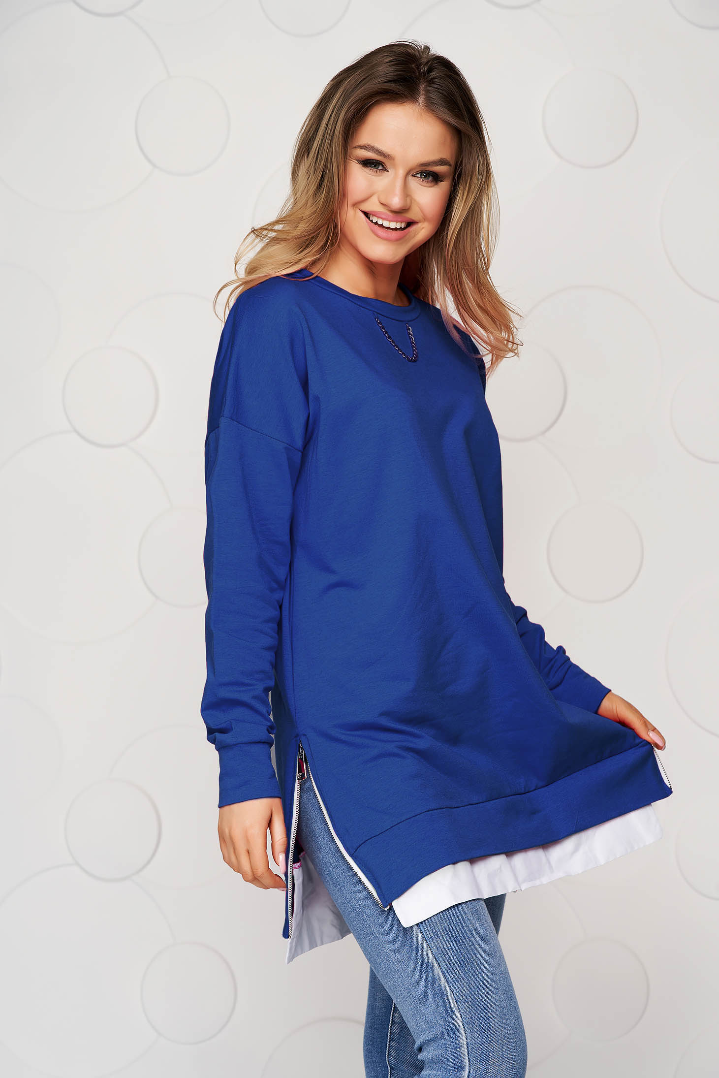 Blue casual loose fit women`s blouse metallic chain accessory slightly elastic fabric