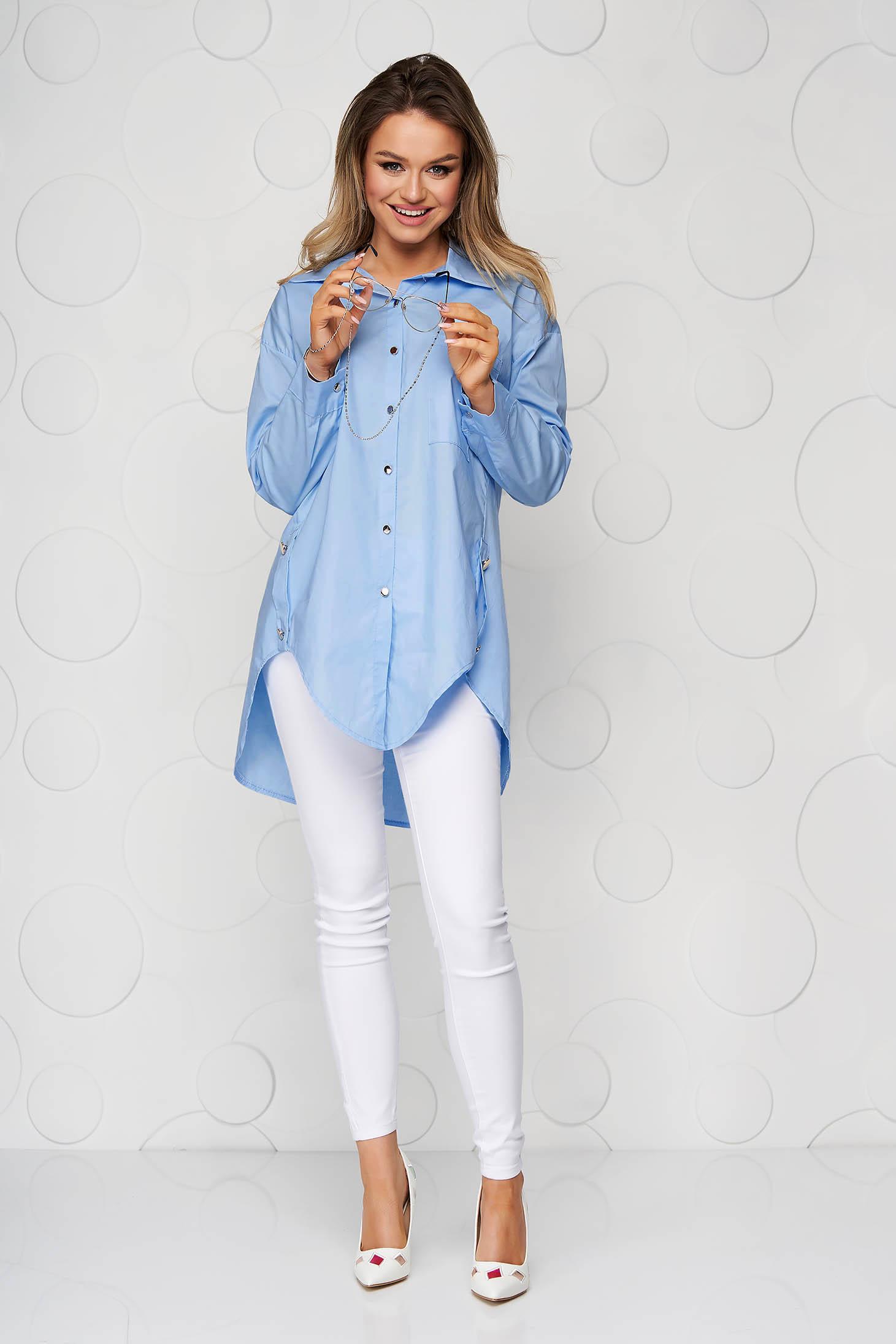 Blue casual poplin, thin cotton women`s shirt asymmetrical loose fit