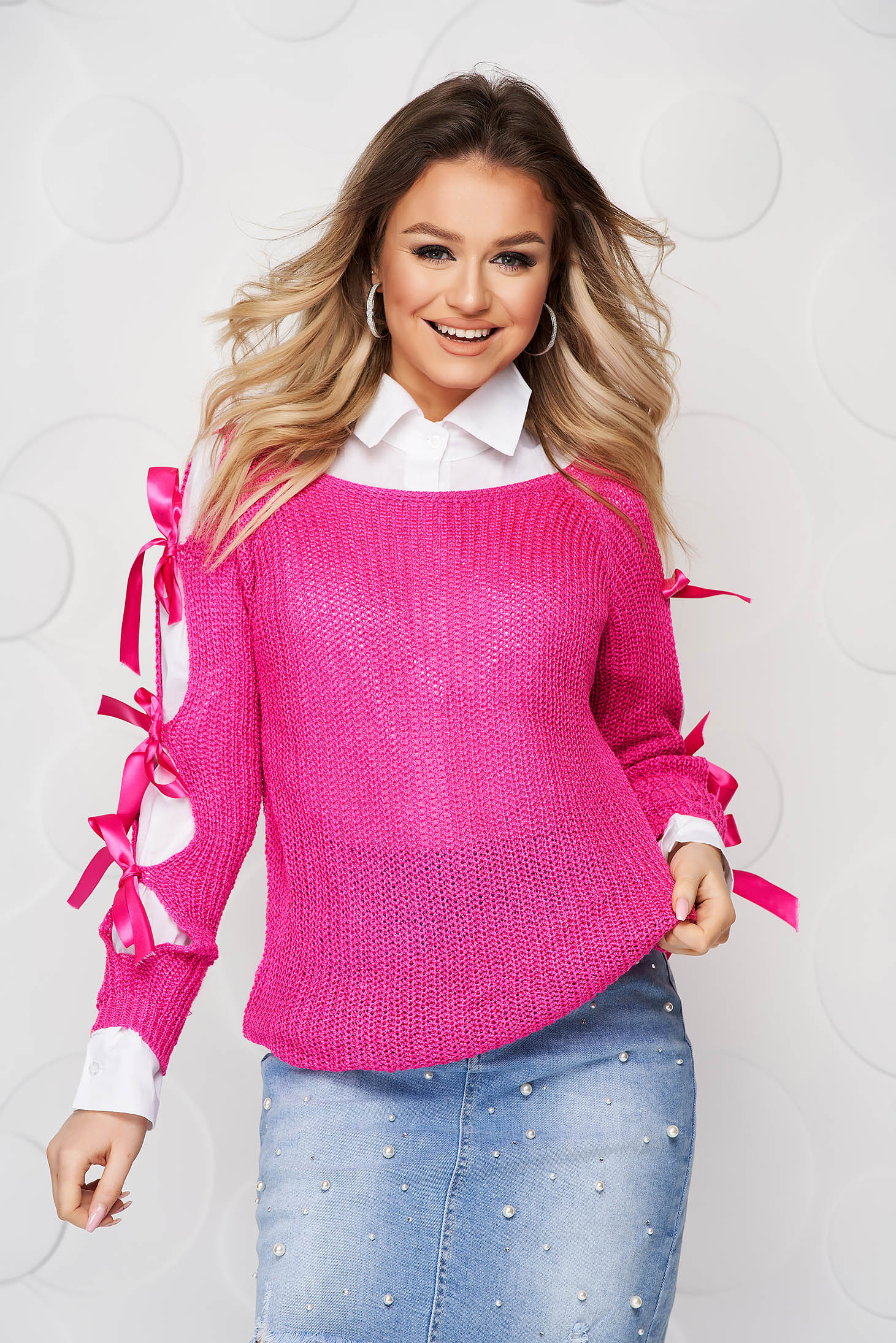 Fuchsia sweater knitted with bow accessories casual loose fit
