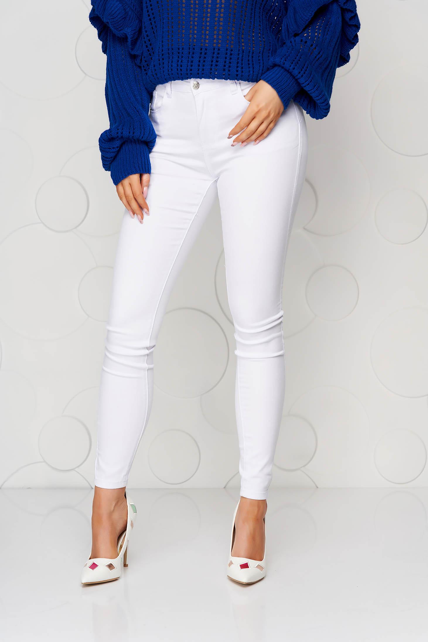 Blugi albi casual skinny cu talie inalta din material elastic