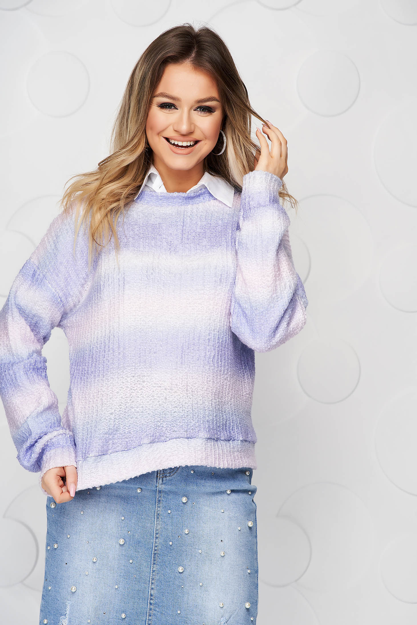 Women`s blouse purple knitted loose fit from fluffy fabric degrade