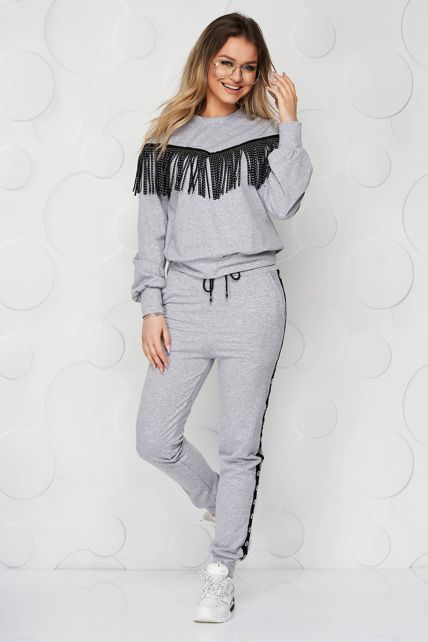 Grey loose fit sport 2 pieces with fringes
