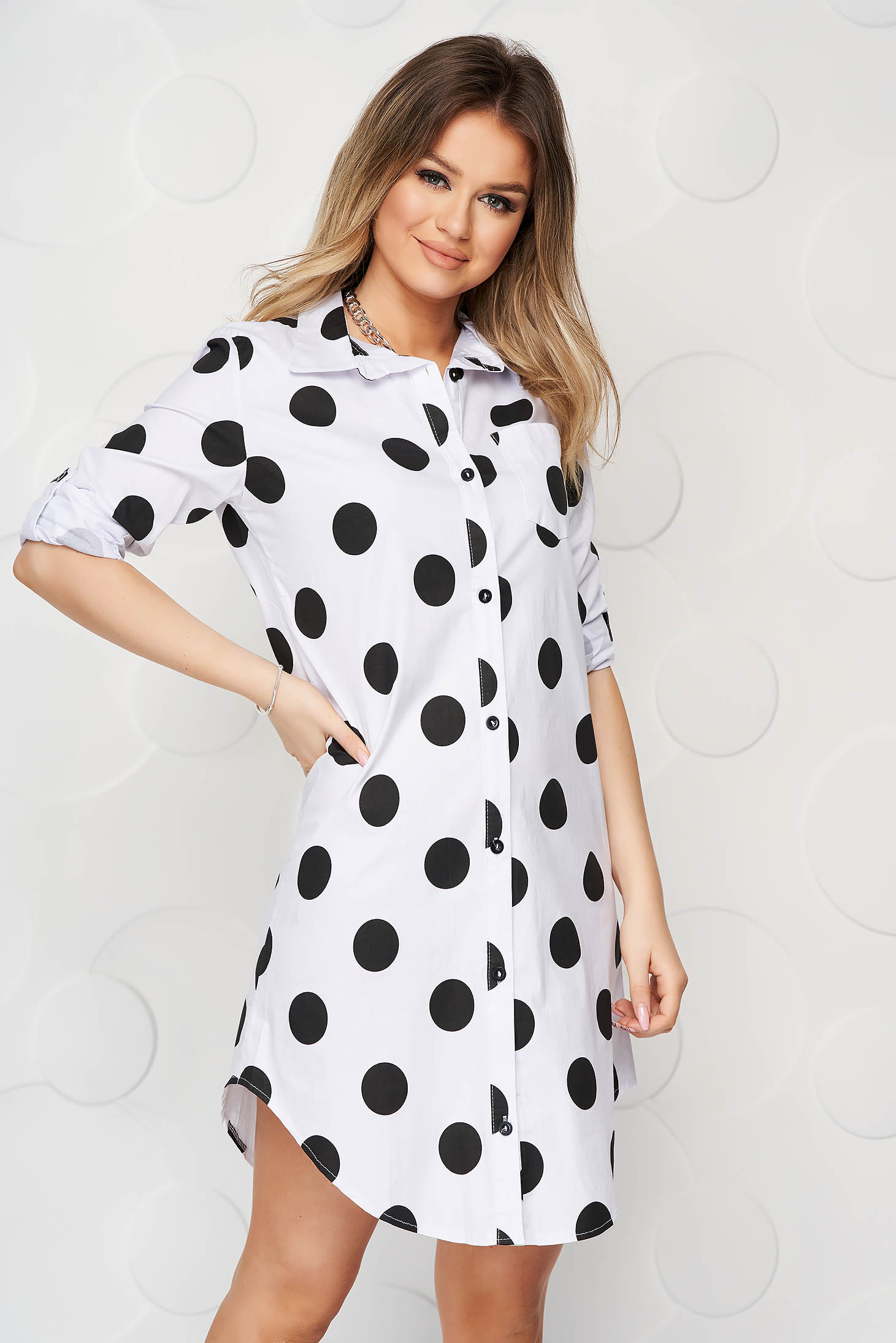 White dress dots print poplin, thin cotton asymmetrical straight