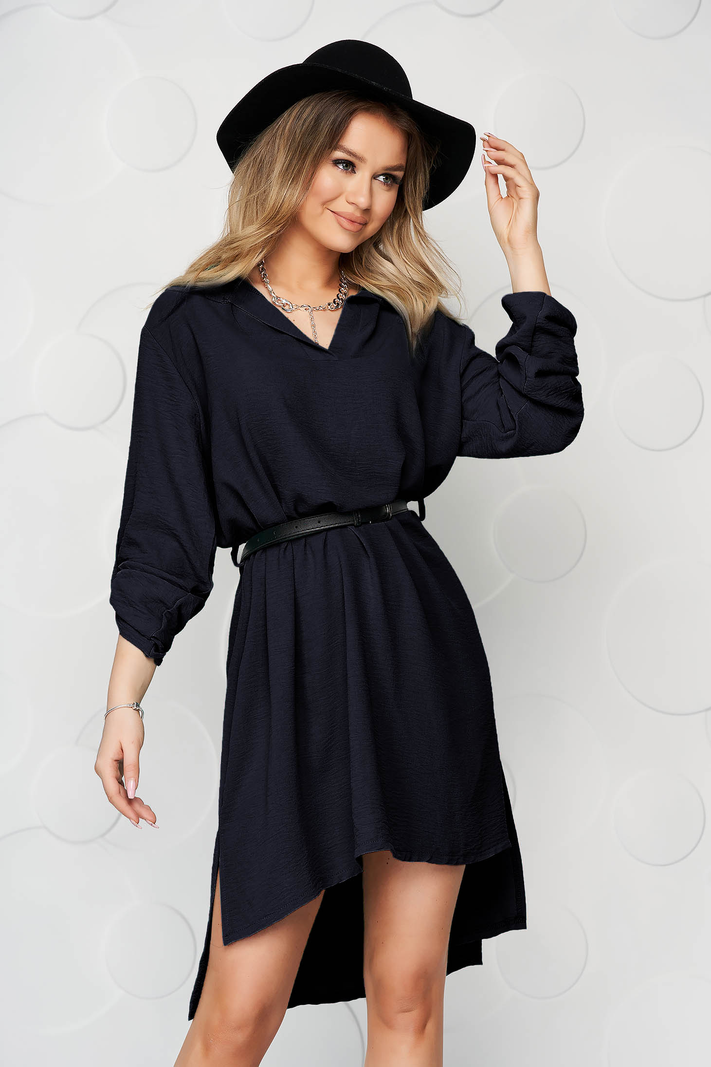 Shirt dress darkblue short cut straight dress thin fabric