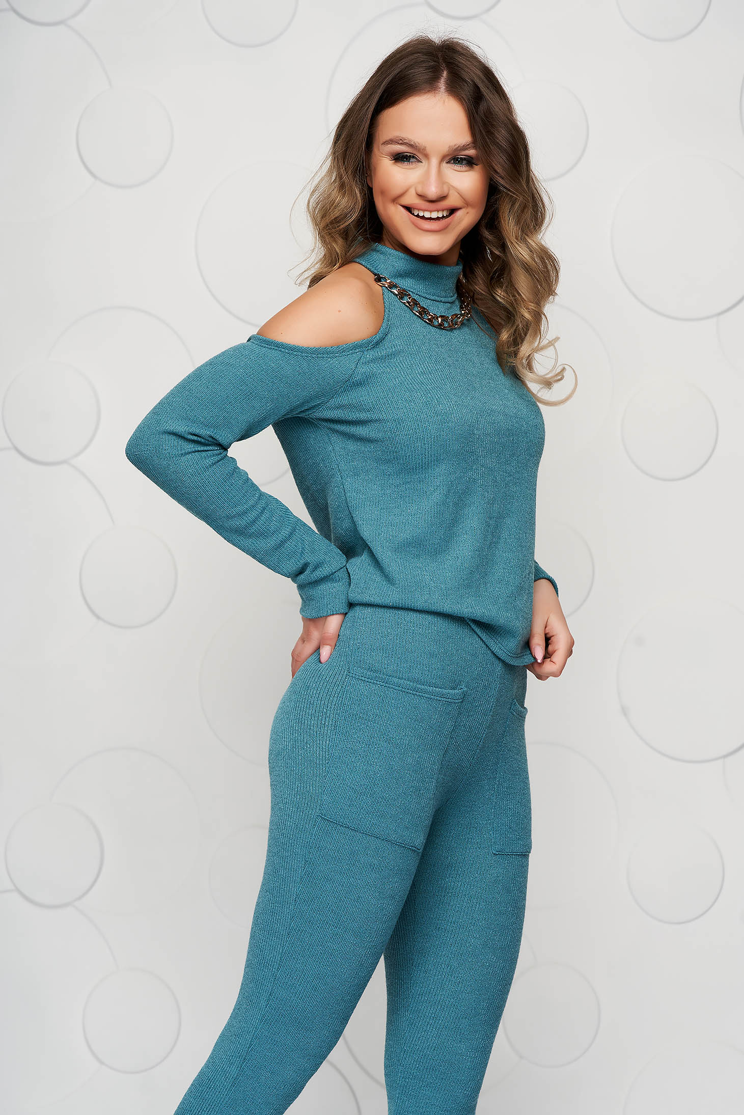 Knitted turquoise from two pieces sport 2 pieces with trousers with turtle neck naked shoulders