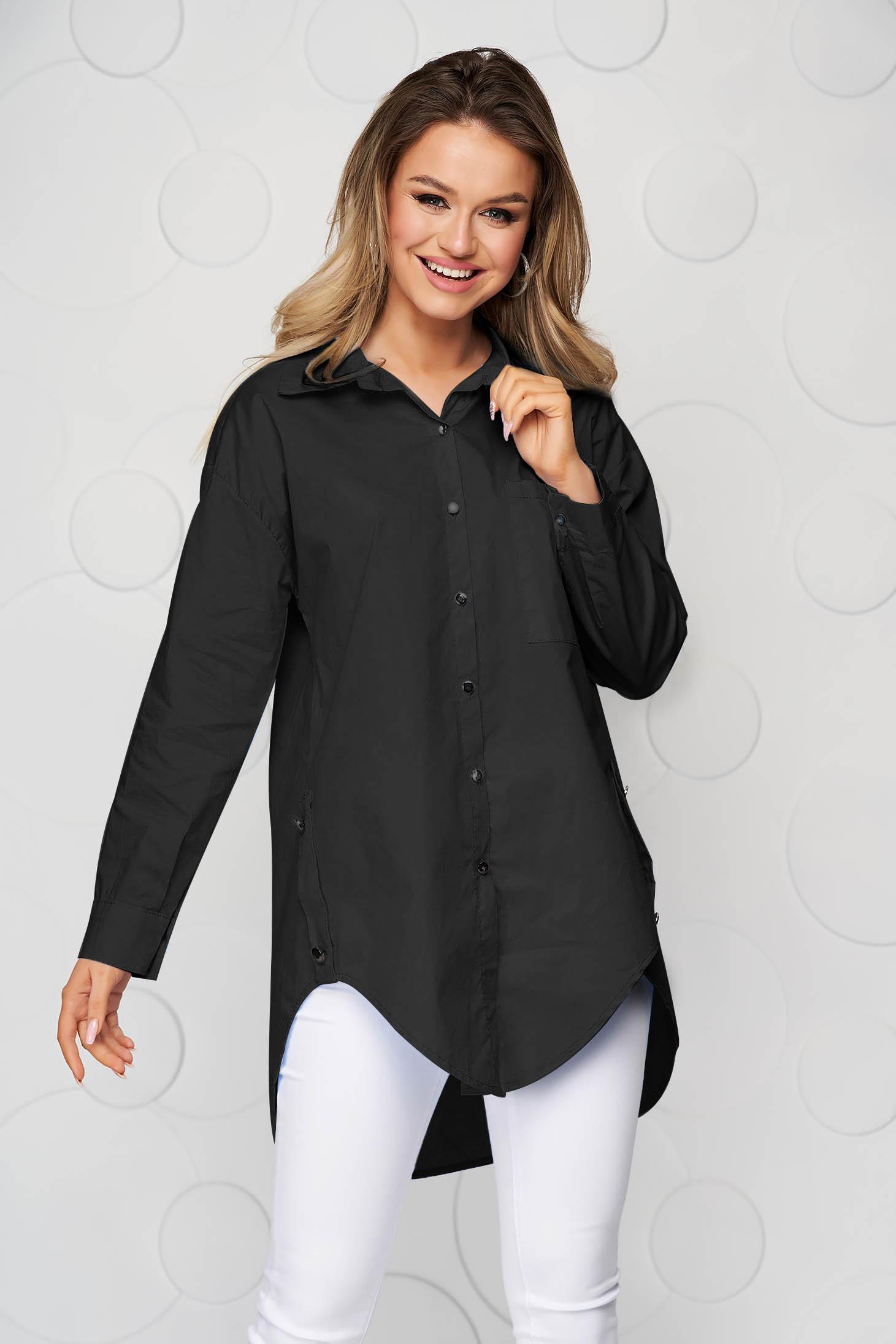 Black casual poplin, thin cotton women`s shirt asymmetrical loose fit