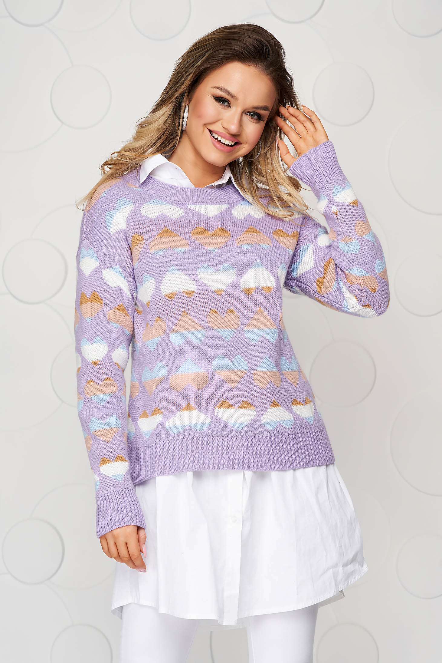 Purple casual knitted women`s blouse loose fit with graphic details