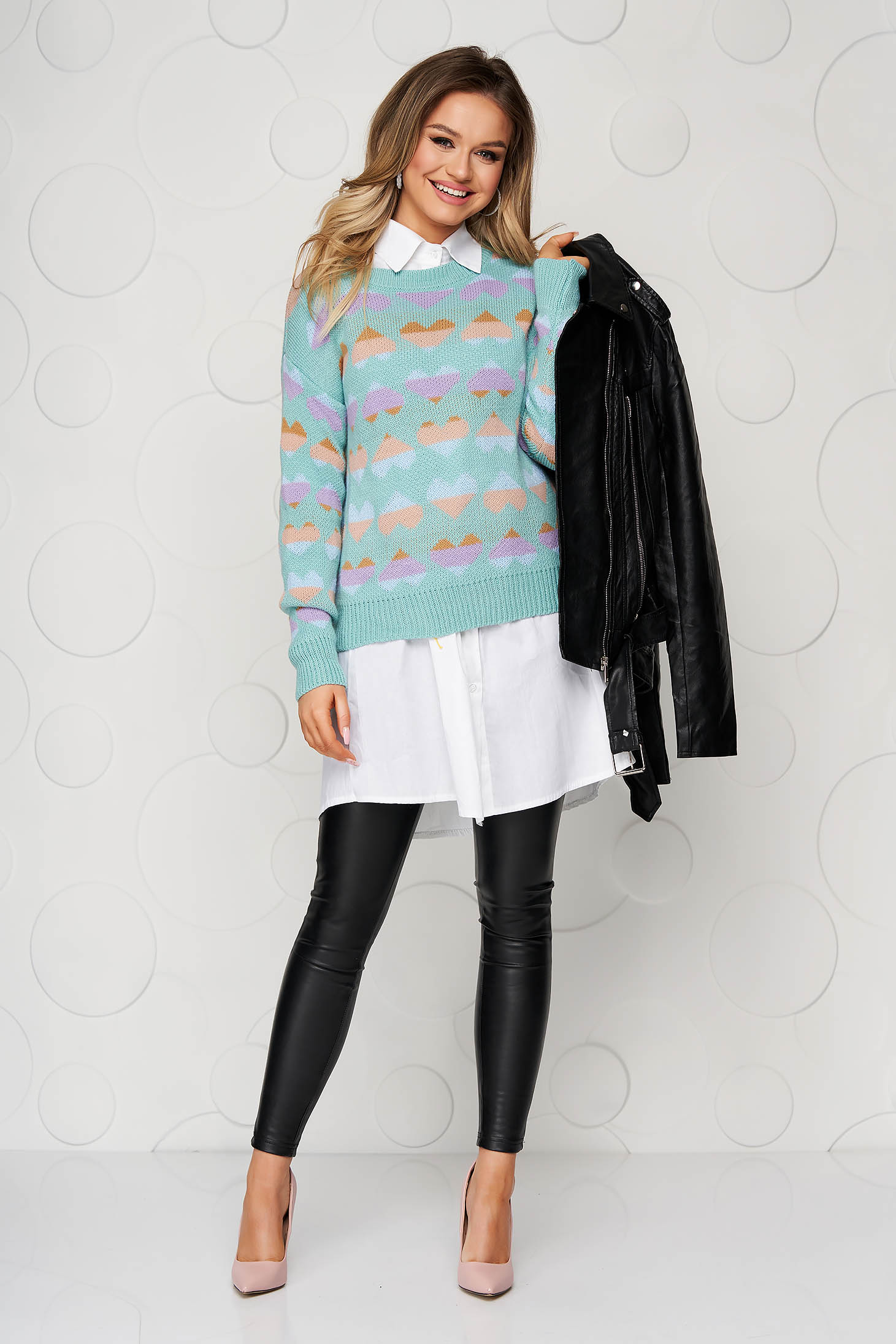 Turquoise casual knitted women`s blouse loose fit with graphic details