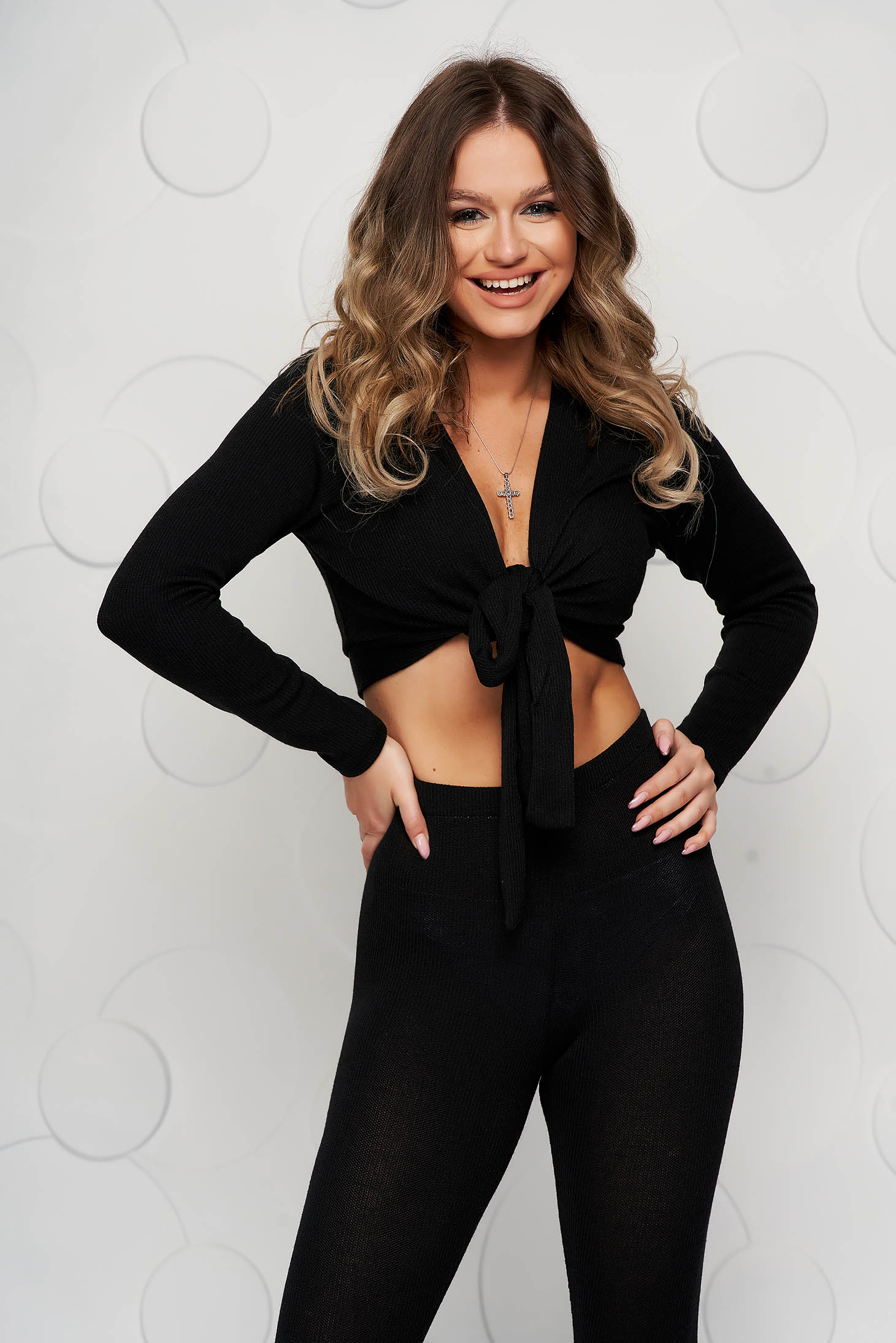 Knitted sport 2 pieces black tented with trousers women`s blouse