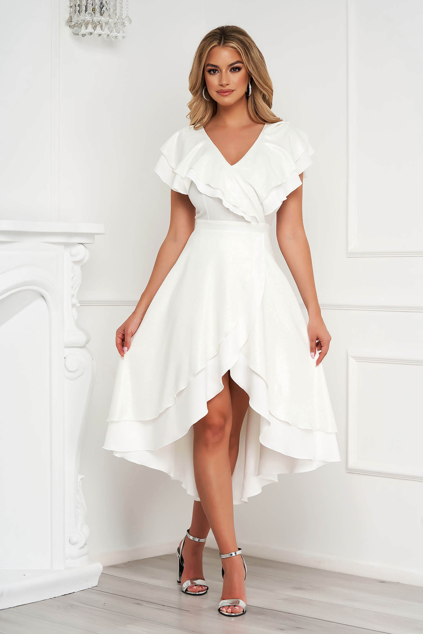 StarShinerS occasional ivory dress with glitter details asymmetrical cloche