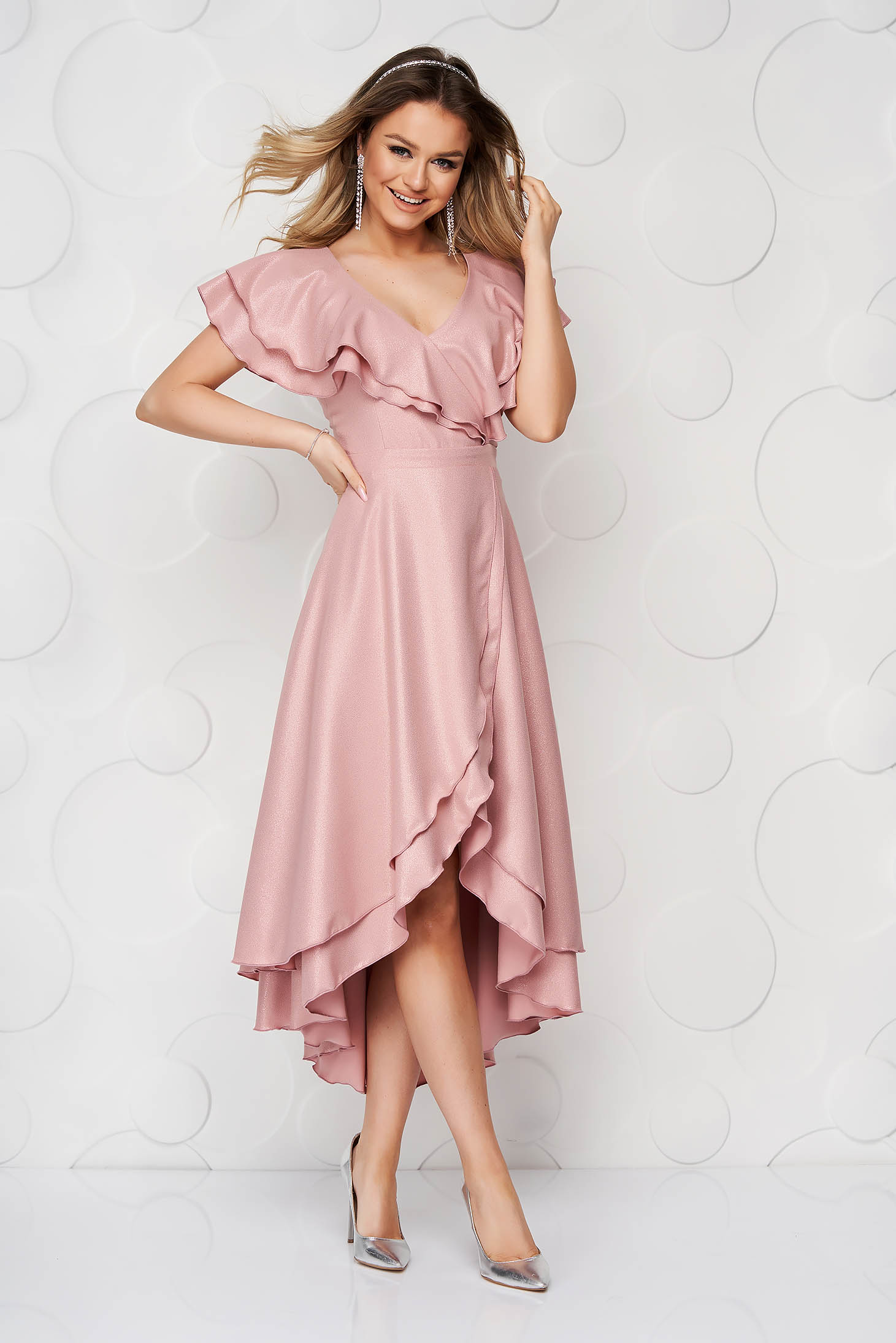 StarShinerS occasional lightpink dress with glitter details asymmetrical cloche
