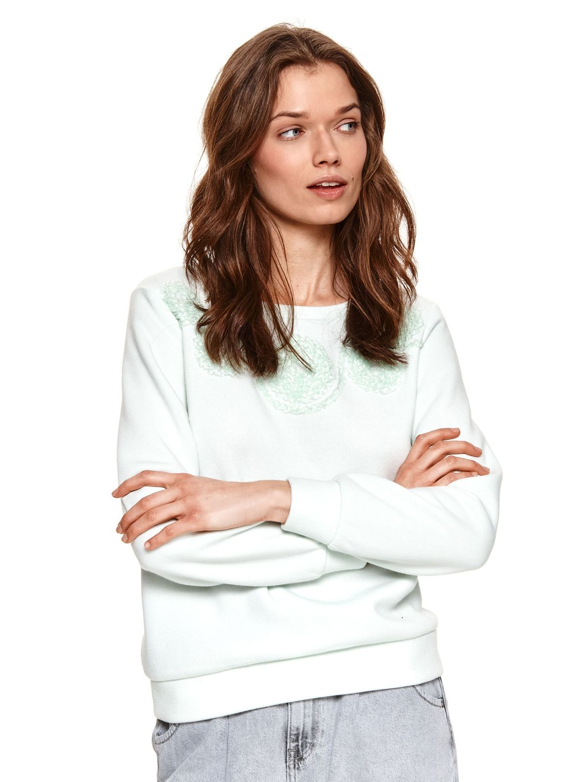 Bluza dama Top Secret turcoaz cu imprimeuri grafice cu croi larg din material pufos fin la atingere