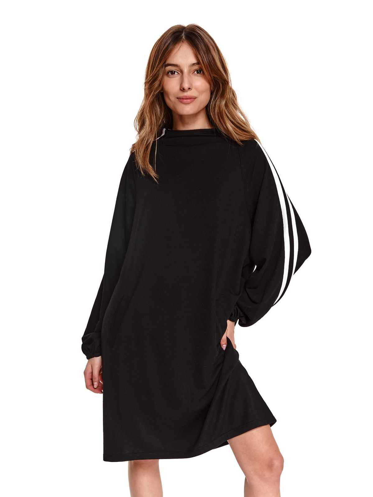 Black dress loose fit asymmetrical from elastic and fine fabric