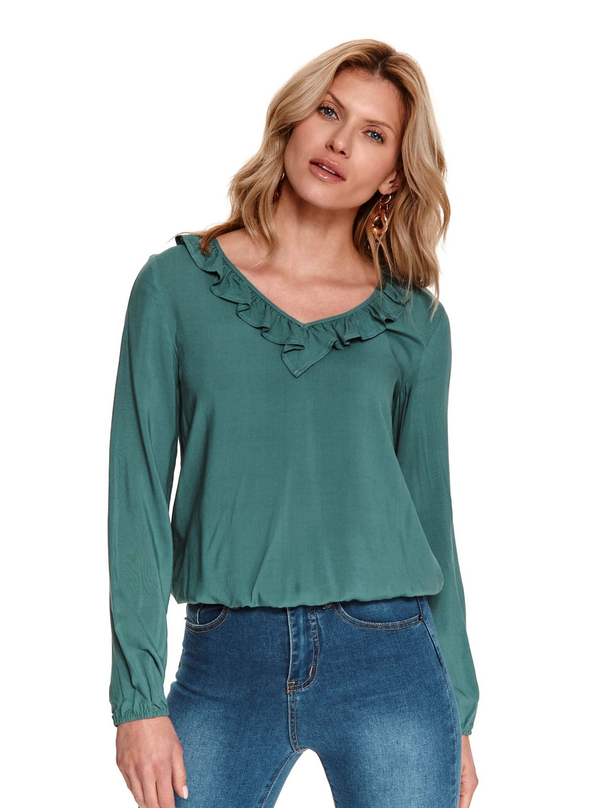 Darkgreen women`s blouse loose fit with ruffle details with elastic waist
