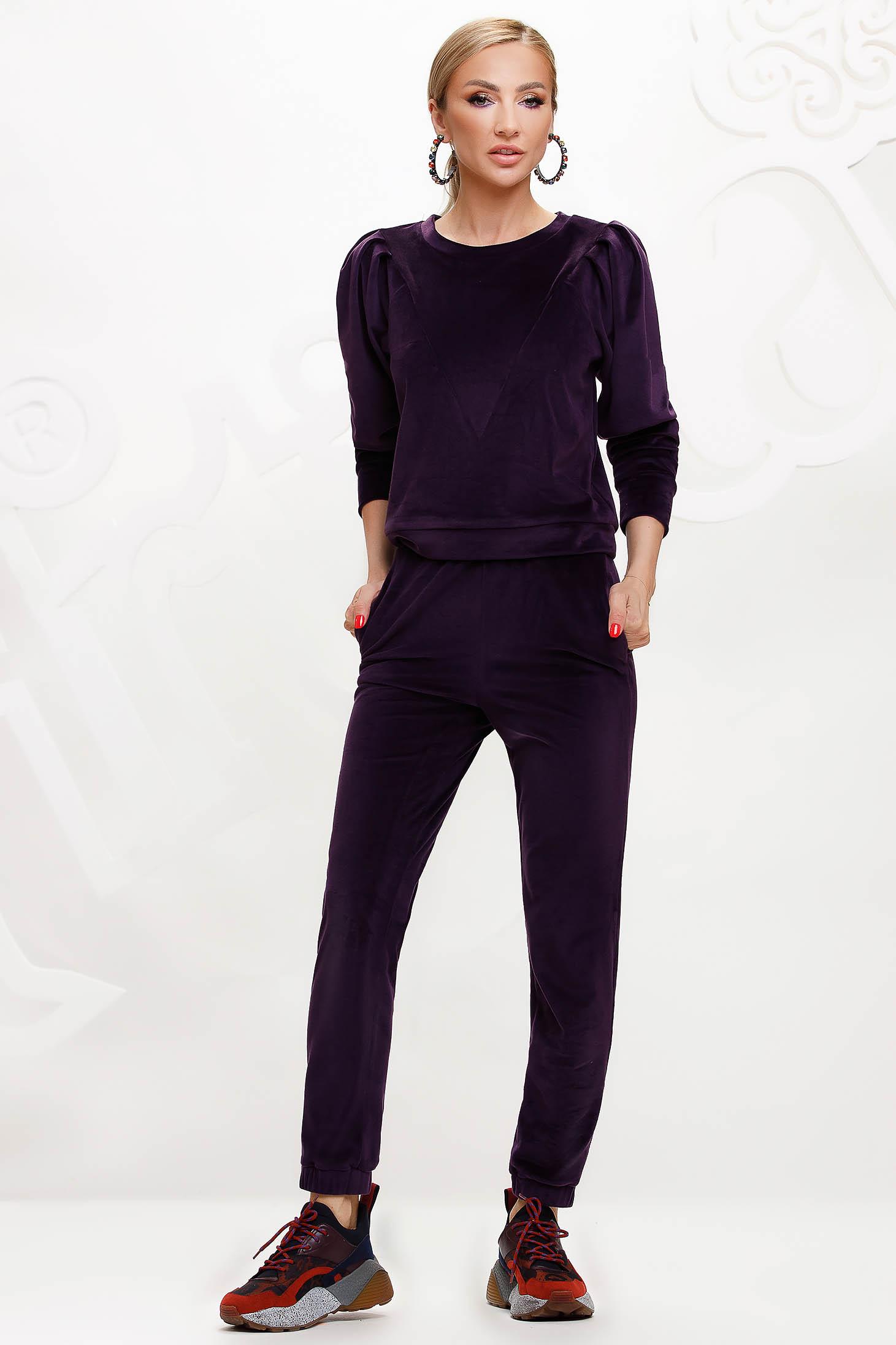 Purple sport 2 pieces velvet top wrinkled sleeves