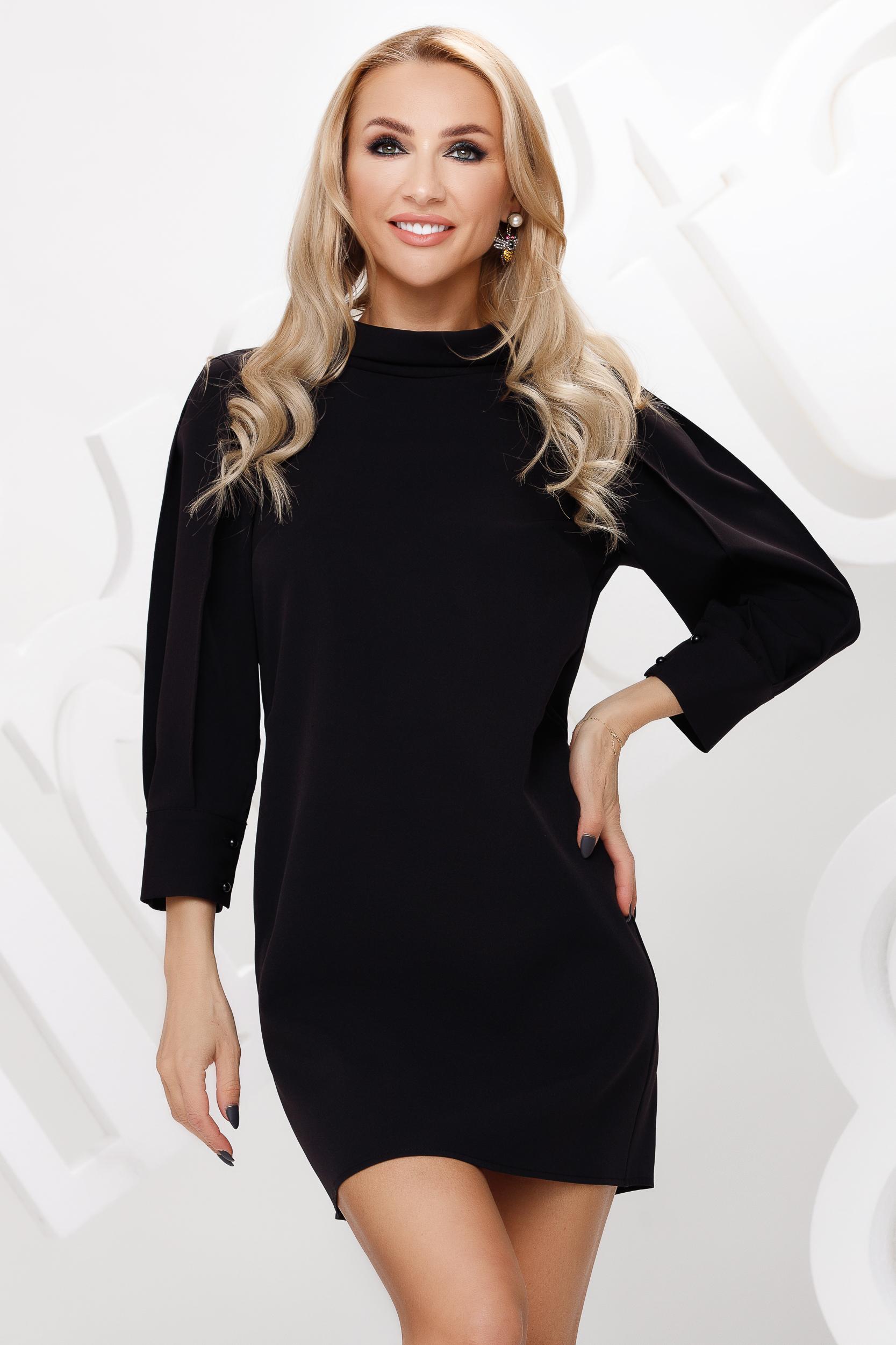 Black dress short cut straight double collar