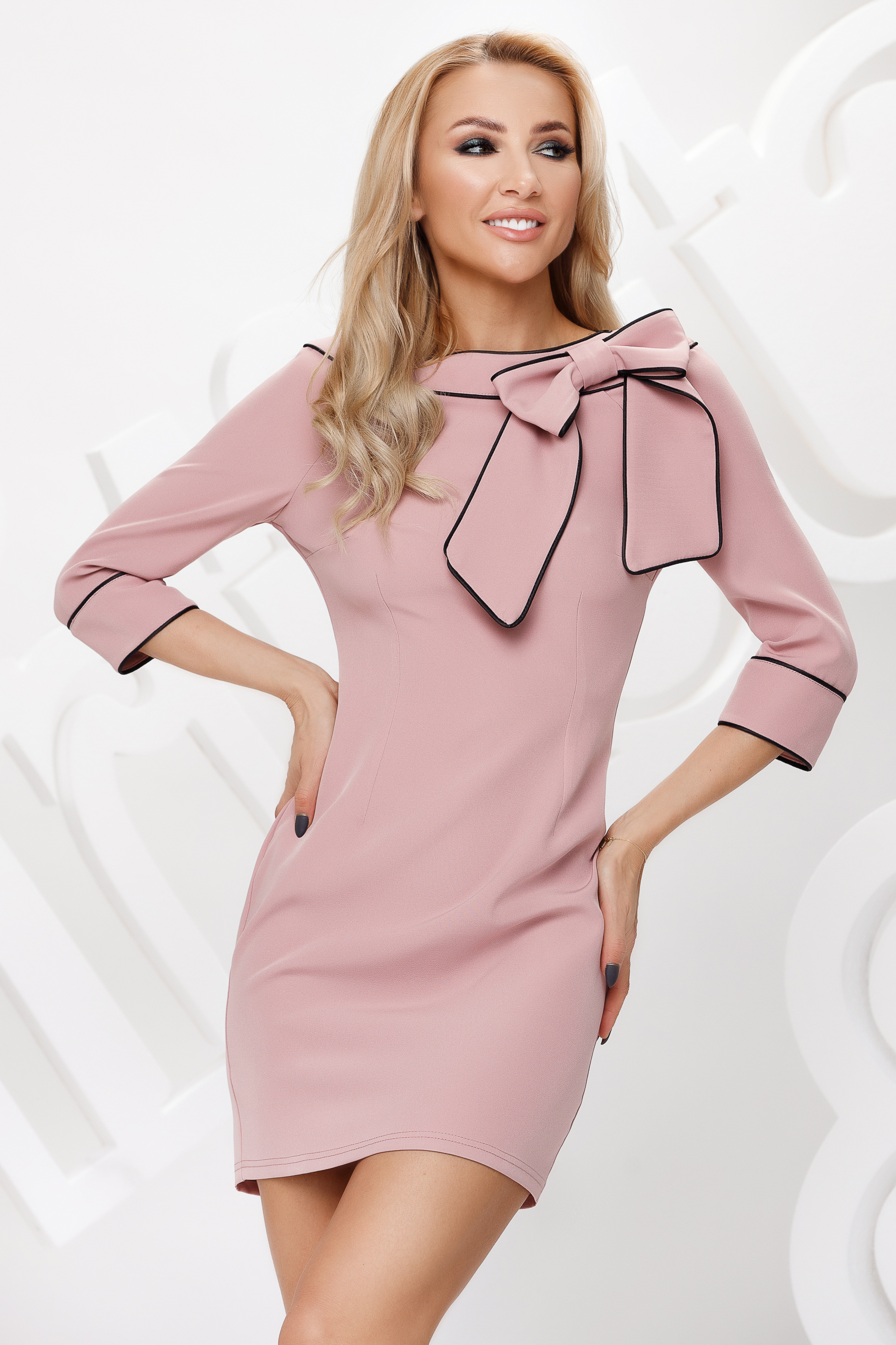 Lightpink dress pencil bow accessory double collar