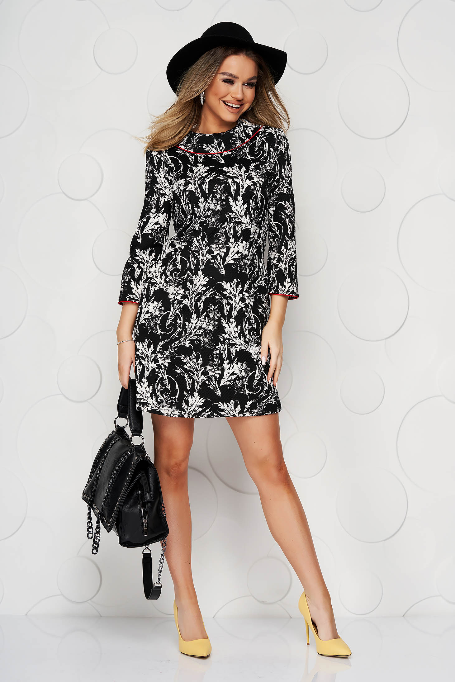 Black dress straight double collar slightly elastic fabric with floral print