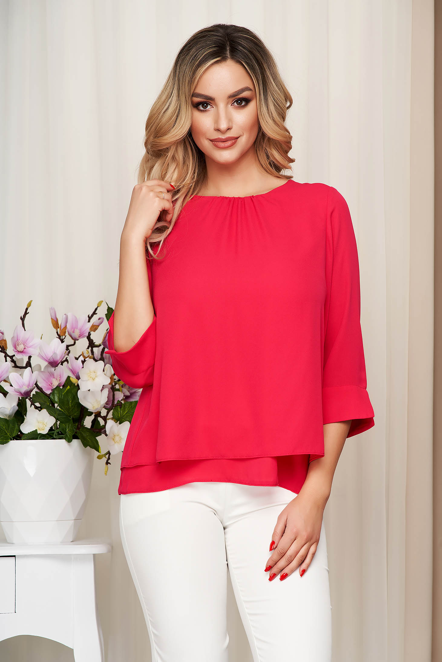 Pink women`s blouse from veil fabric loose fit elegant transparent sleeves
