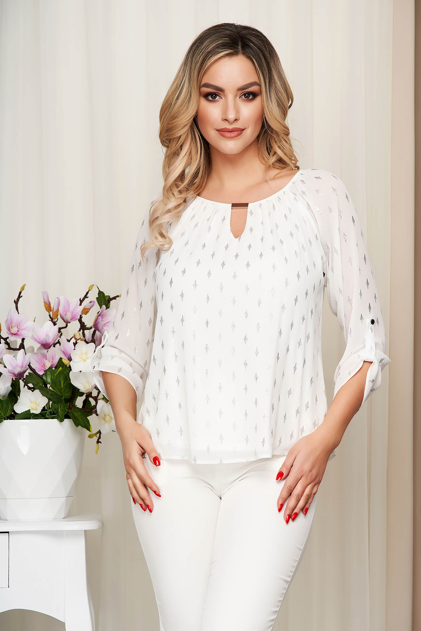 Ivory women`s blouse from veil fabric elegant with metalic accessory with glitter details