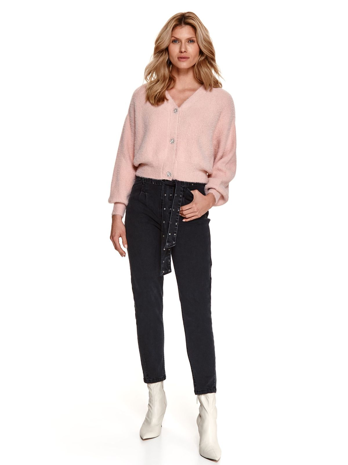 Black trousers denim conical accessorized with tied waistband high waisted