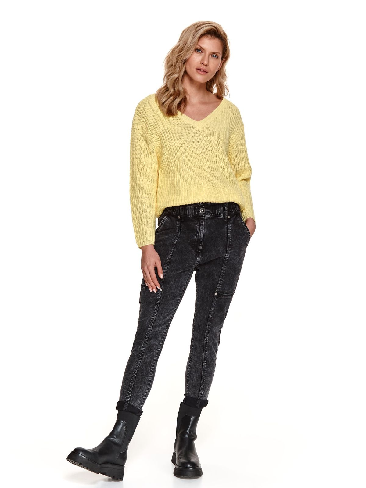 Grey trousers denim high waisted conical