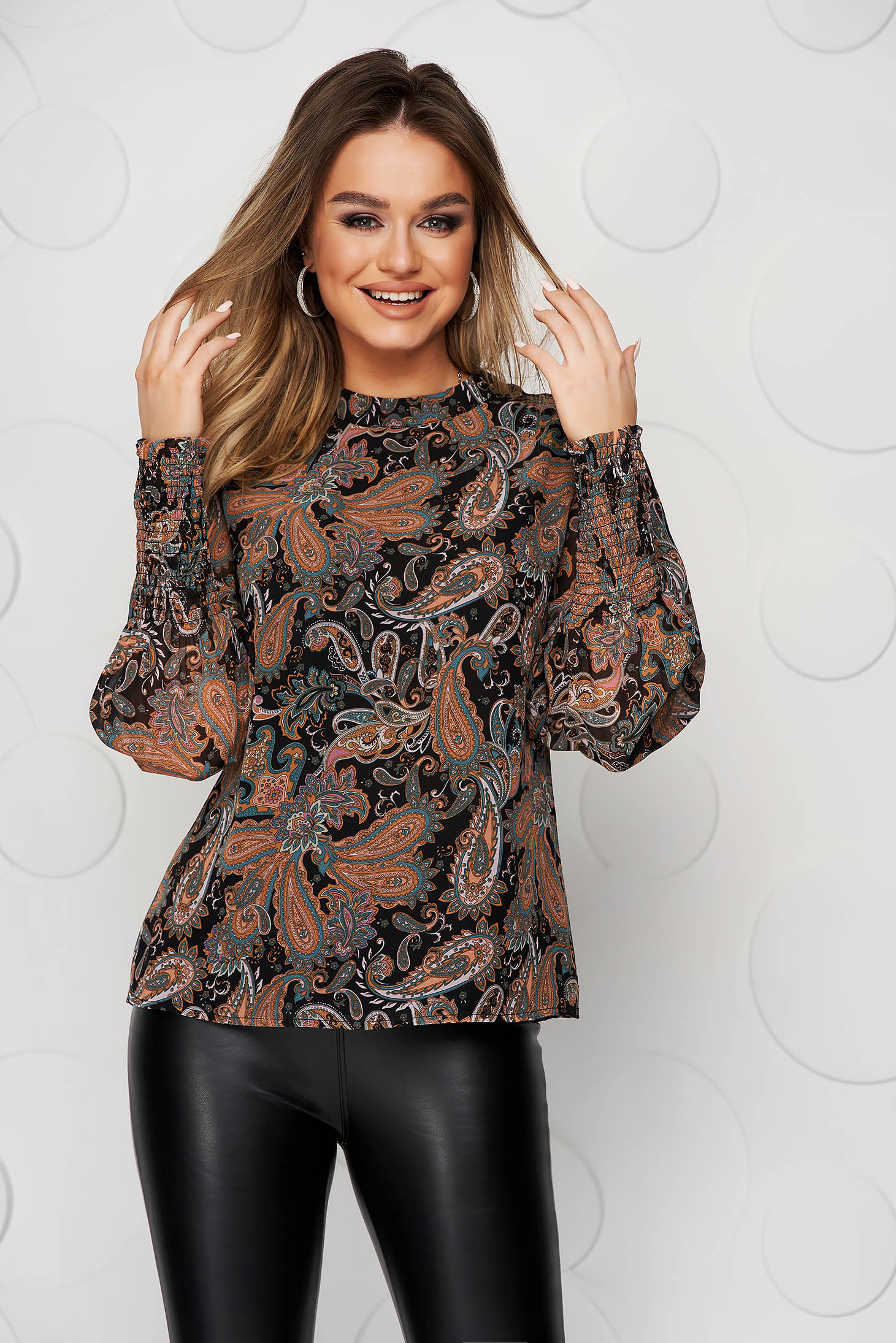 Darkblue women`s blouse with floral print with puffed sleeves loose fit