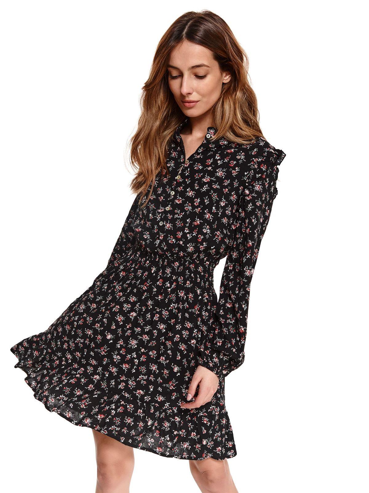 Rochie Top Secret neagra cu imprimeu floral clos cu elastic in talie cu maneci prinse in elastic