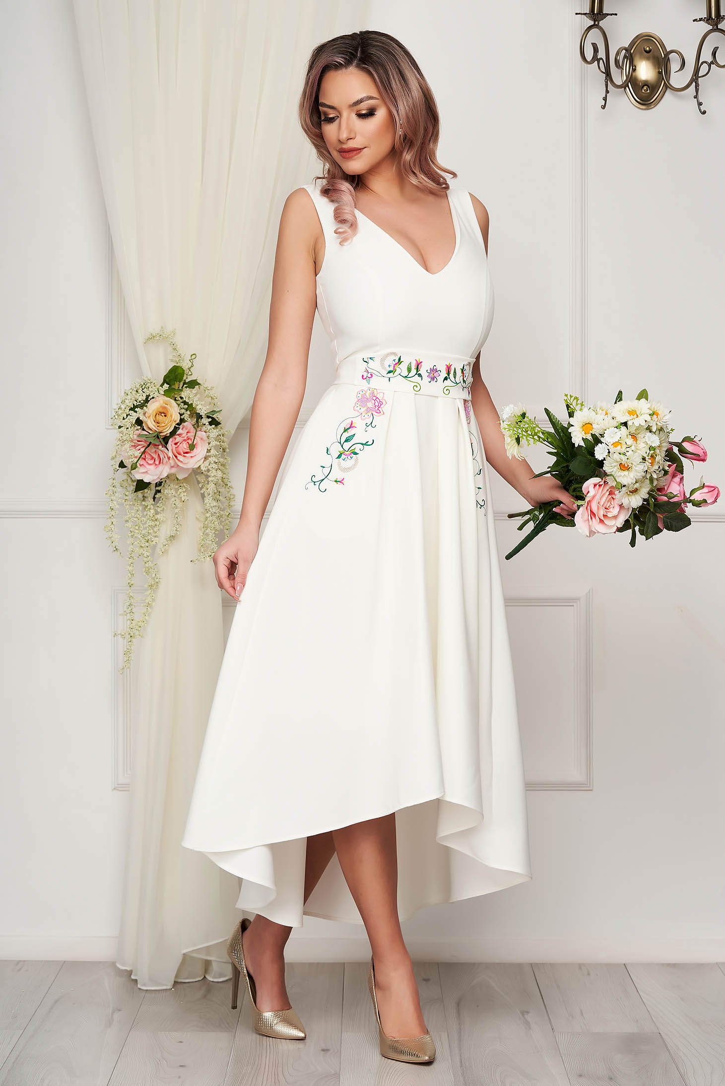 StarShinerS ivory dress occasional midi cloche with embroidery details